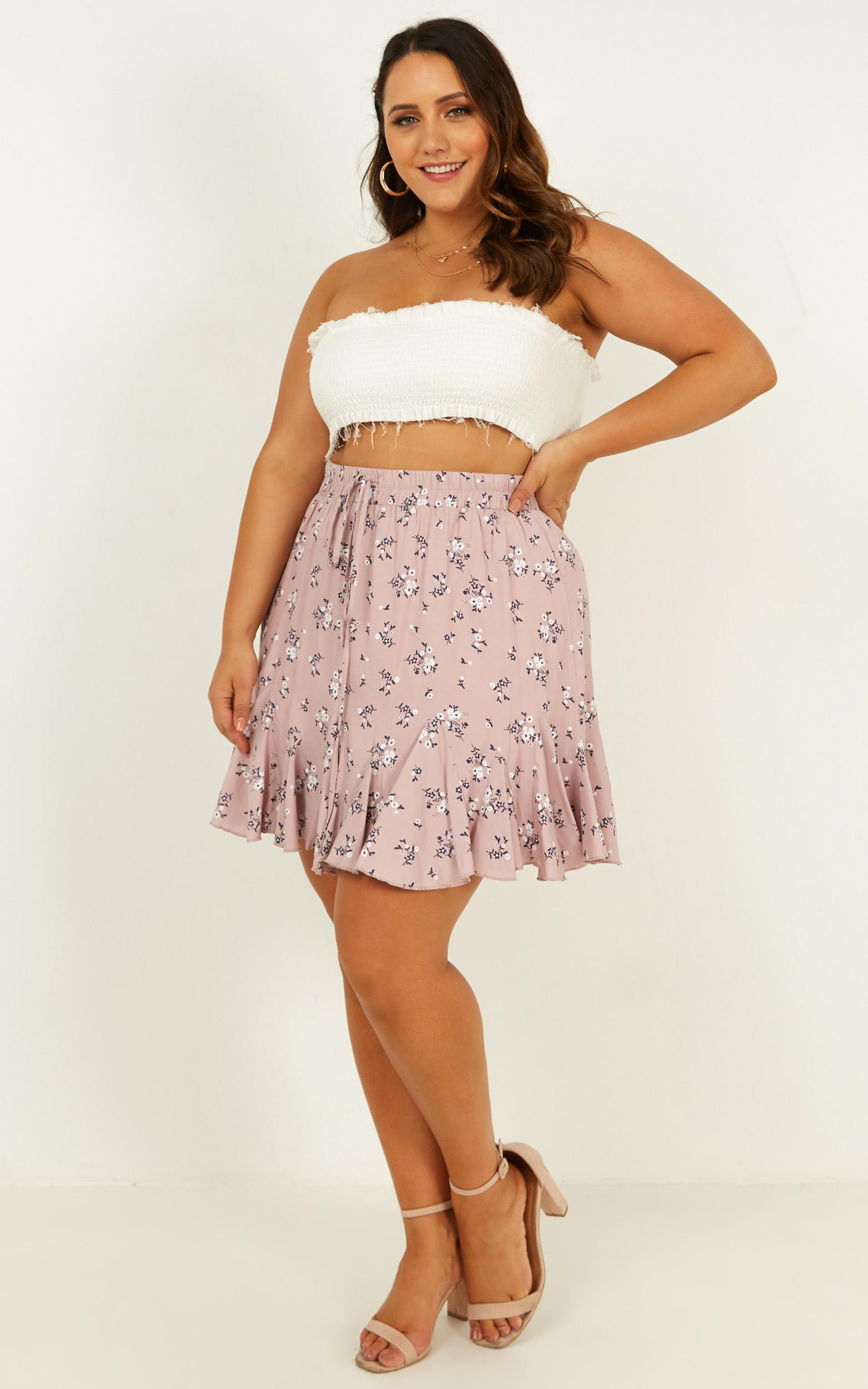 Pass the Message On Skirt  In blush floral - 12 (L), Blush, hi-res image number null