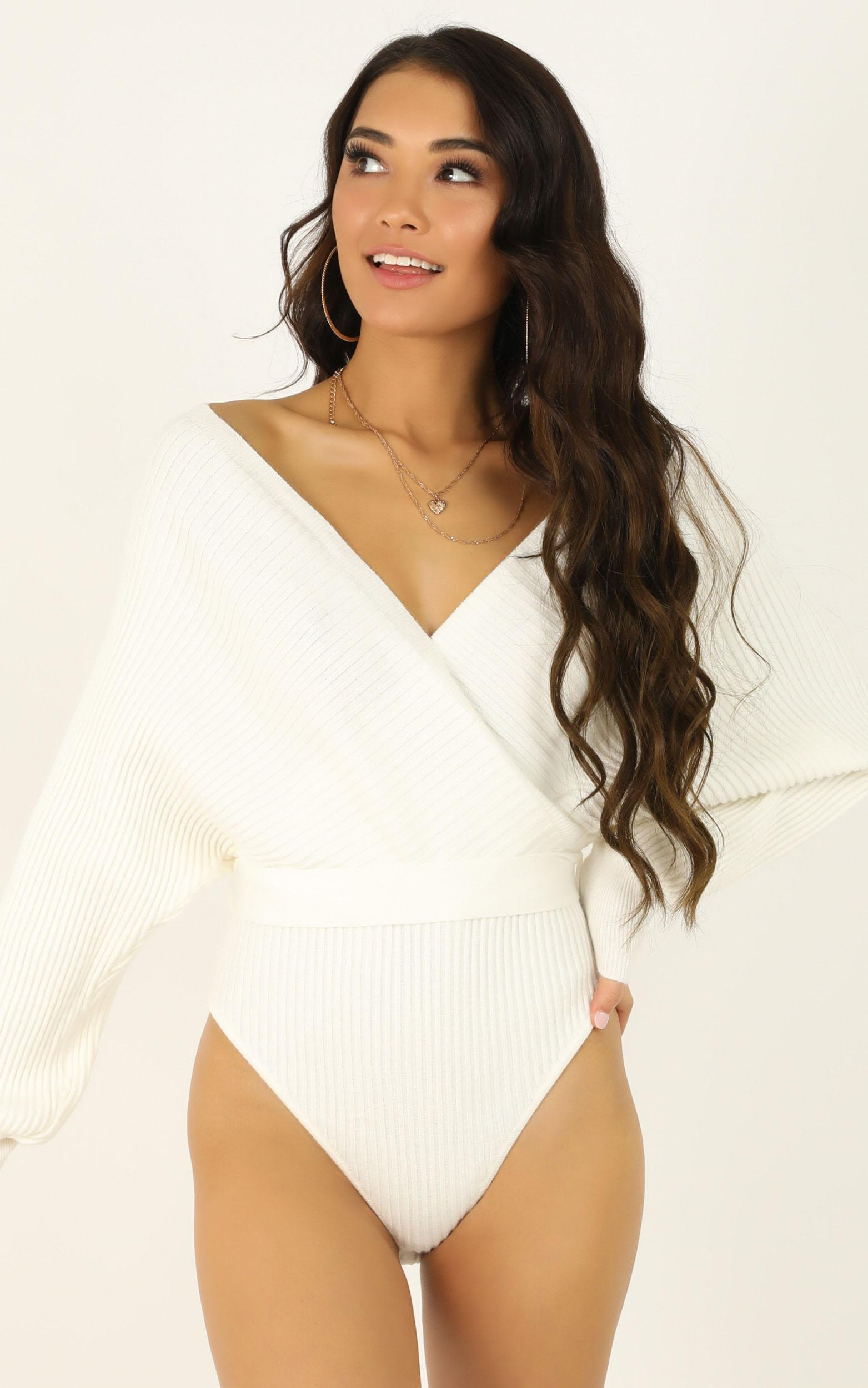 Amery knit bodysuit in white - M/L, White, hi-res image number null