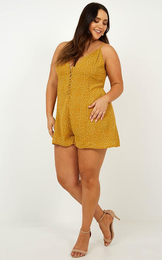 On The Spot Playsuit in mustard spot - 20 (XXXXL), Mustard, hi-res image number null