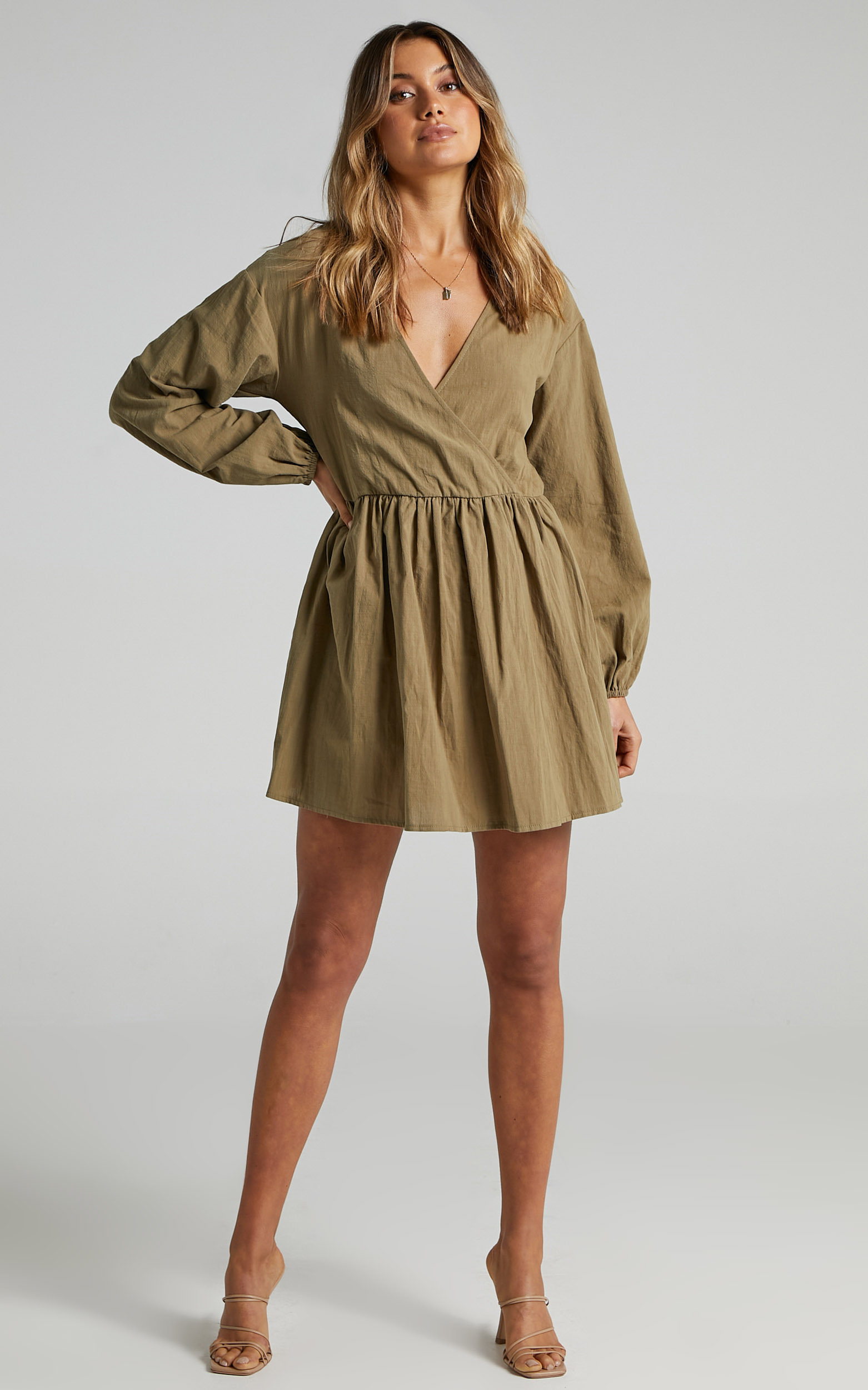 Kensley Wrap Front Long Sleeve Mini Dress in Khaki - 04, GRN1, hi-res image number null