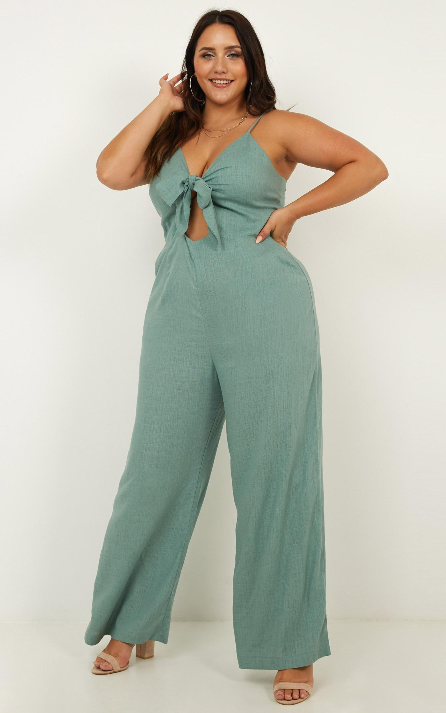Lost And Loved Jumpsuit In sage linen look - 20 (XXXXL), Sage, hi-res image number null