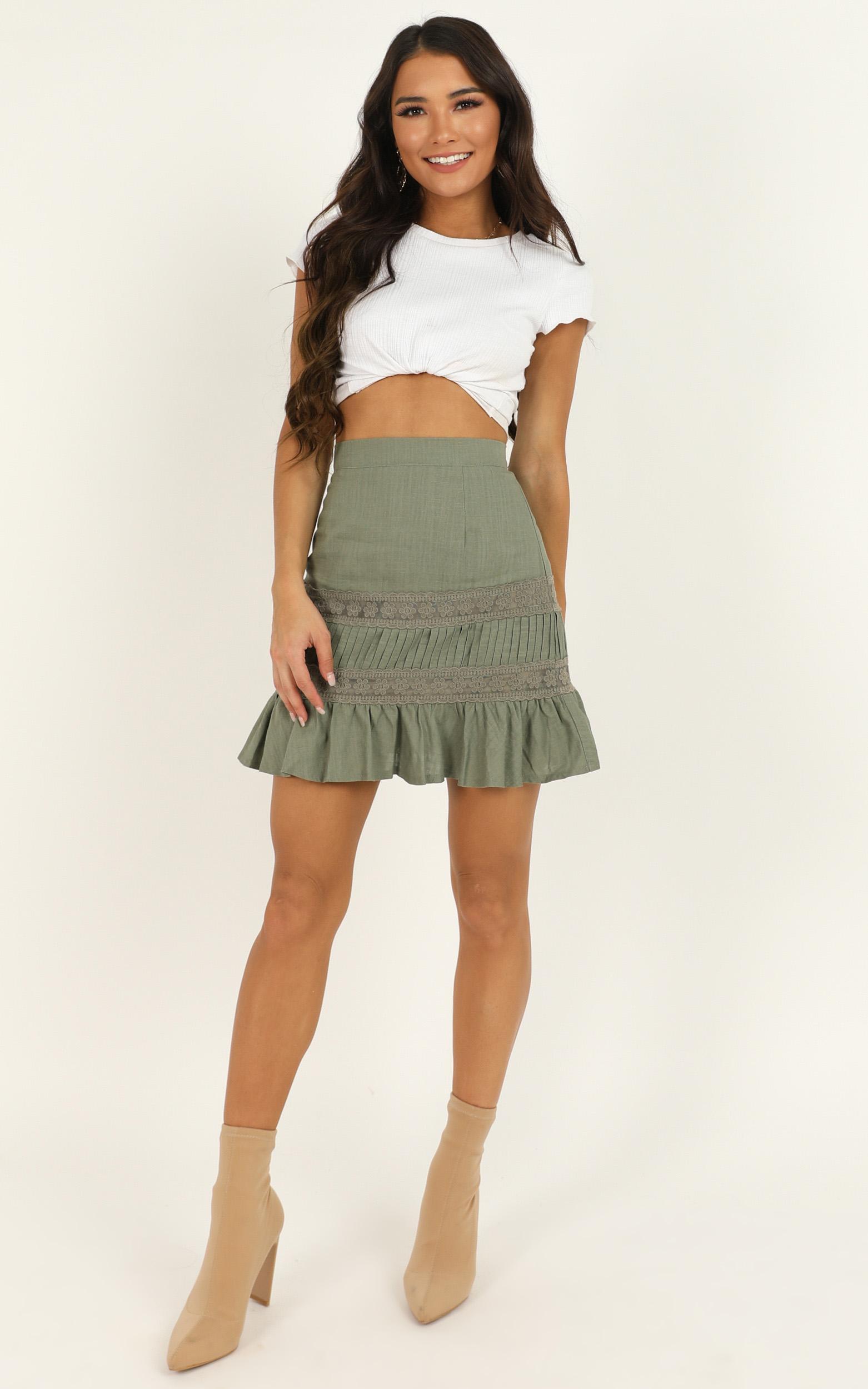 Leave It Here Skirt in khaki linen look  - 18 (XXXL), Khaki, hi-res image number null
