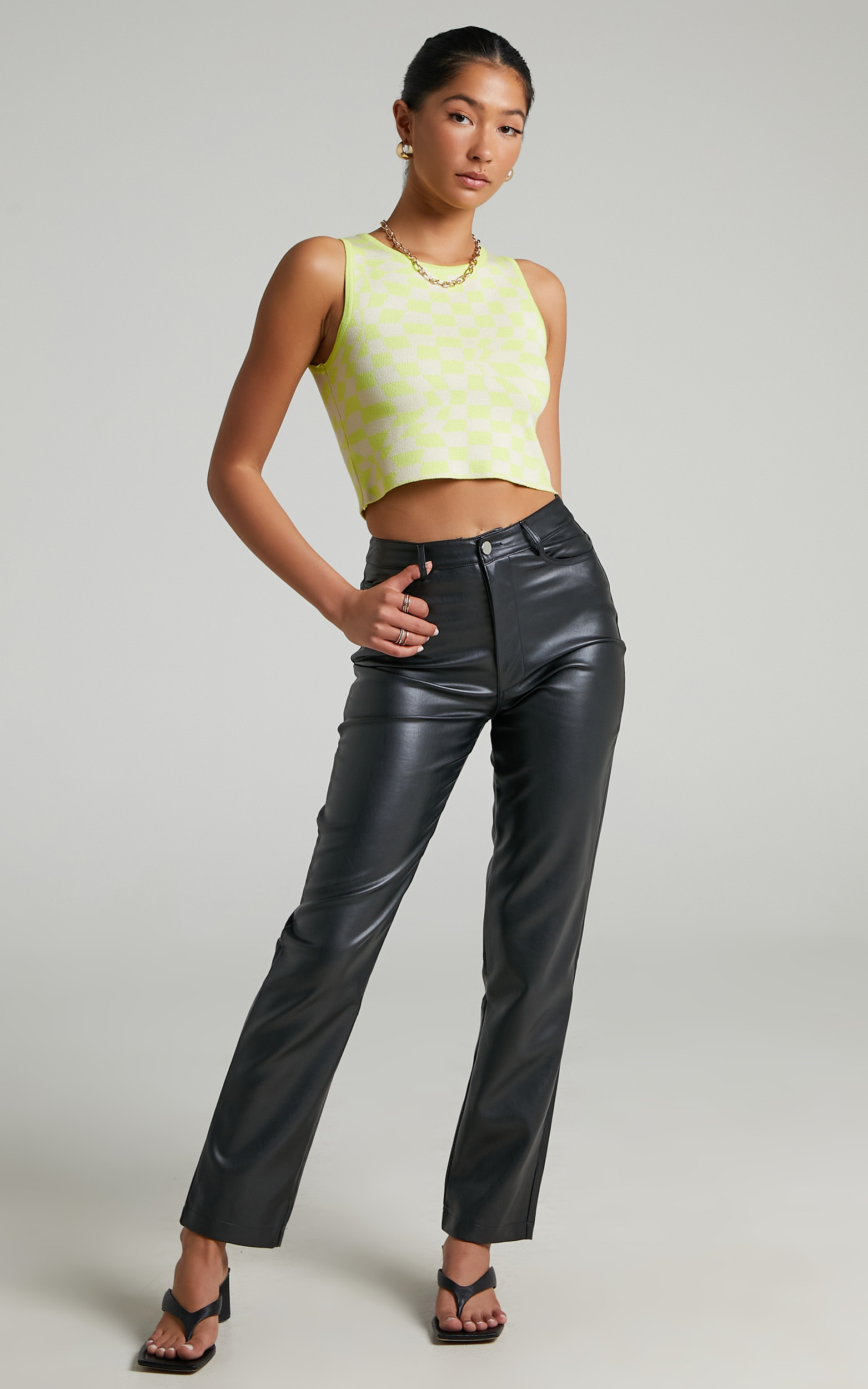 Janny Highneck Top in Green Check - 06, GRN1, hi-res image number null