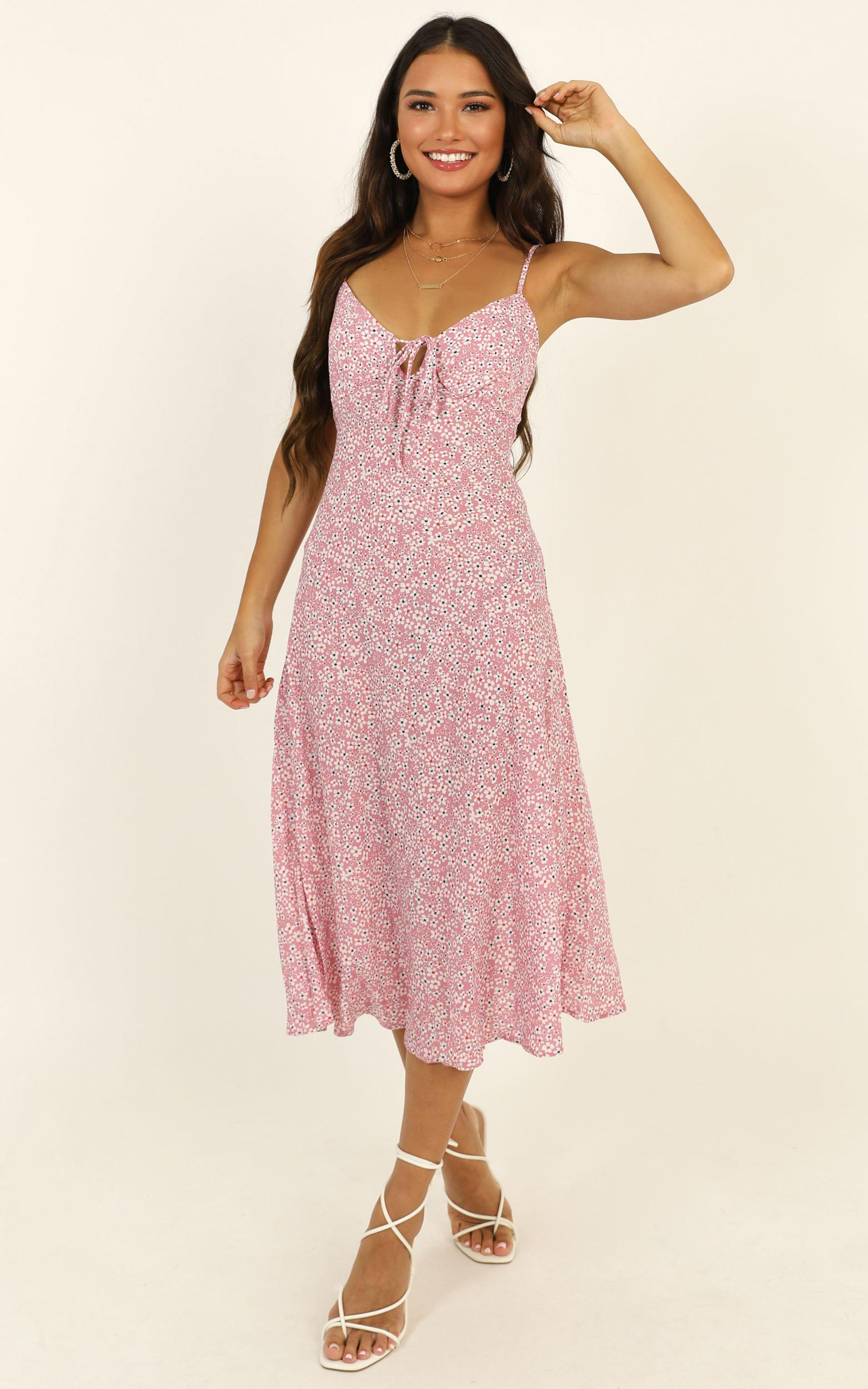 Toss The Dice dress in pink floral - 14 (XL), Pink, hi-res image number null