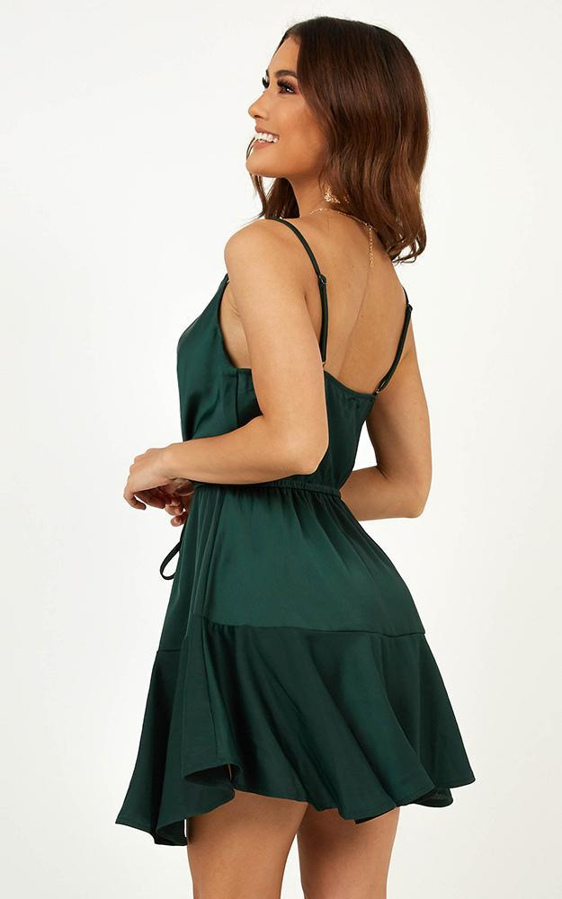 Lay Low Dress In Teal Spot Satin - 14 (XL), Green, hi-res image number null