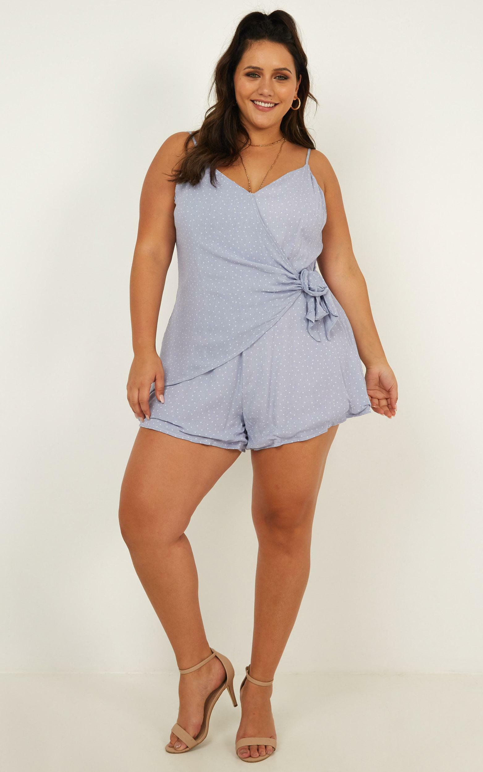 Before The Rising Sun Playsuit in light blue spot , Blue, hi-res image number null