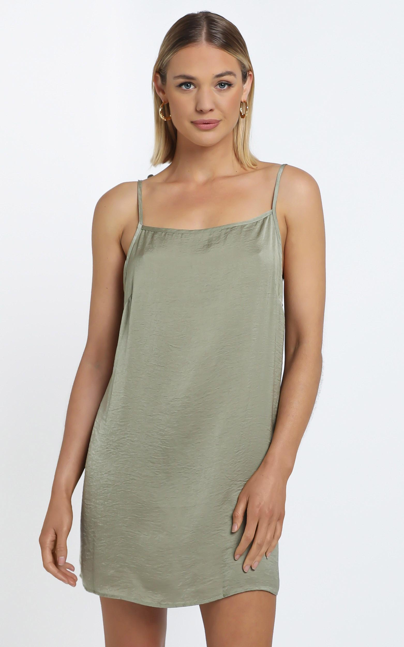Silky Cami Dress in Khaki - 12 (L), Green, hi-res image number null