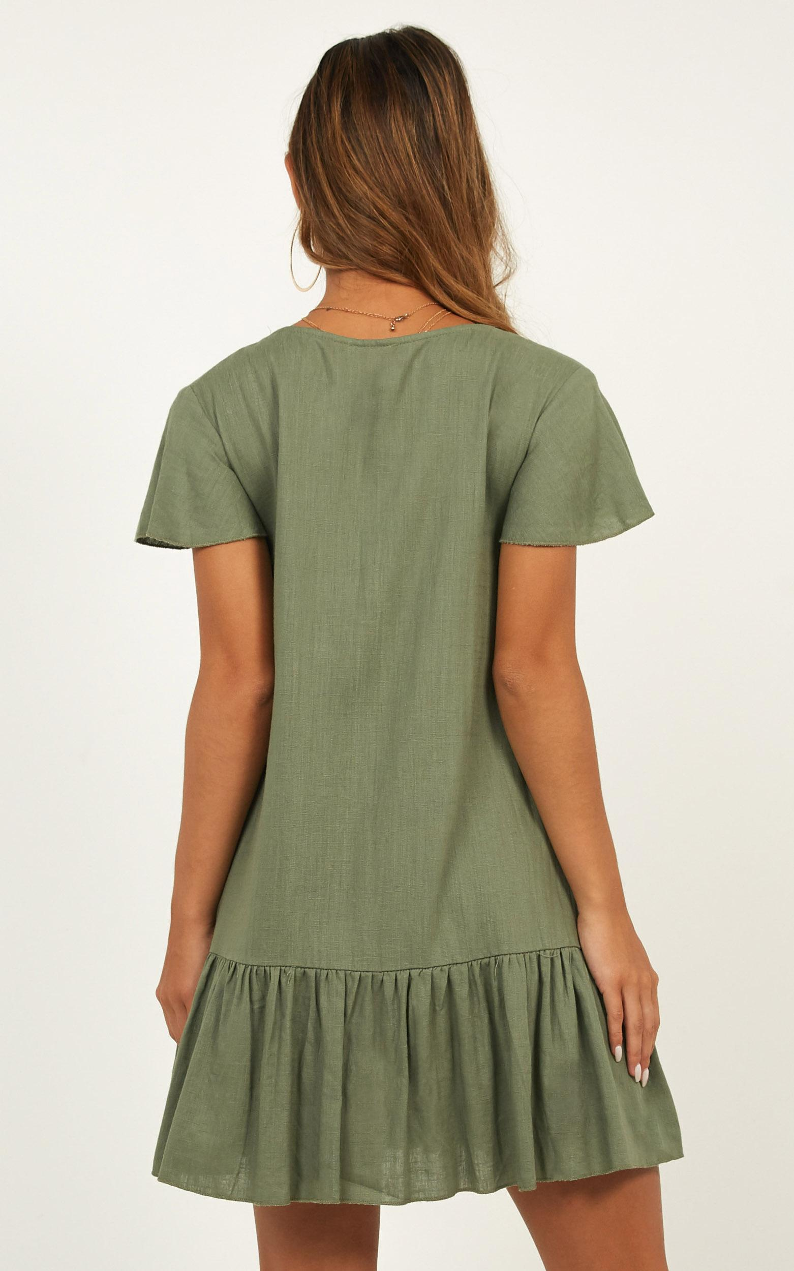 All Or Nothing dress in khaki linen look - 14 (XL), Khaki, hi-res image number null