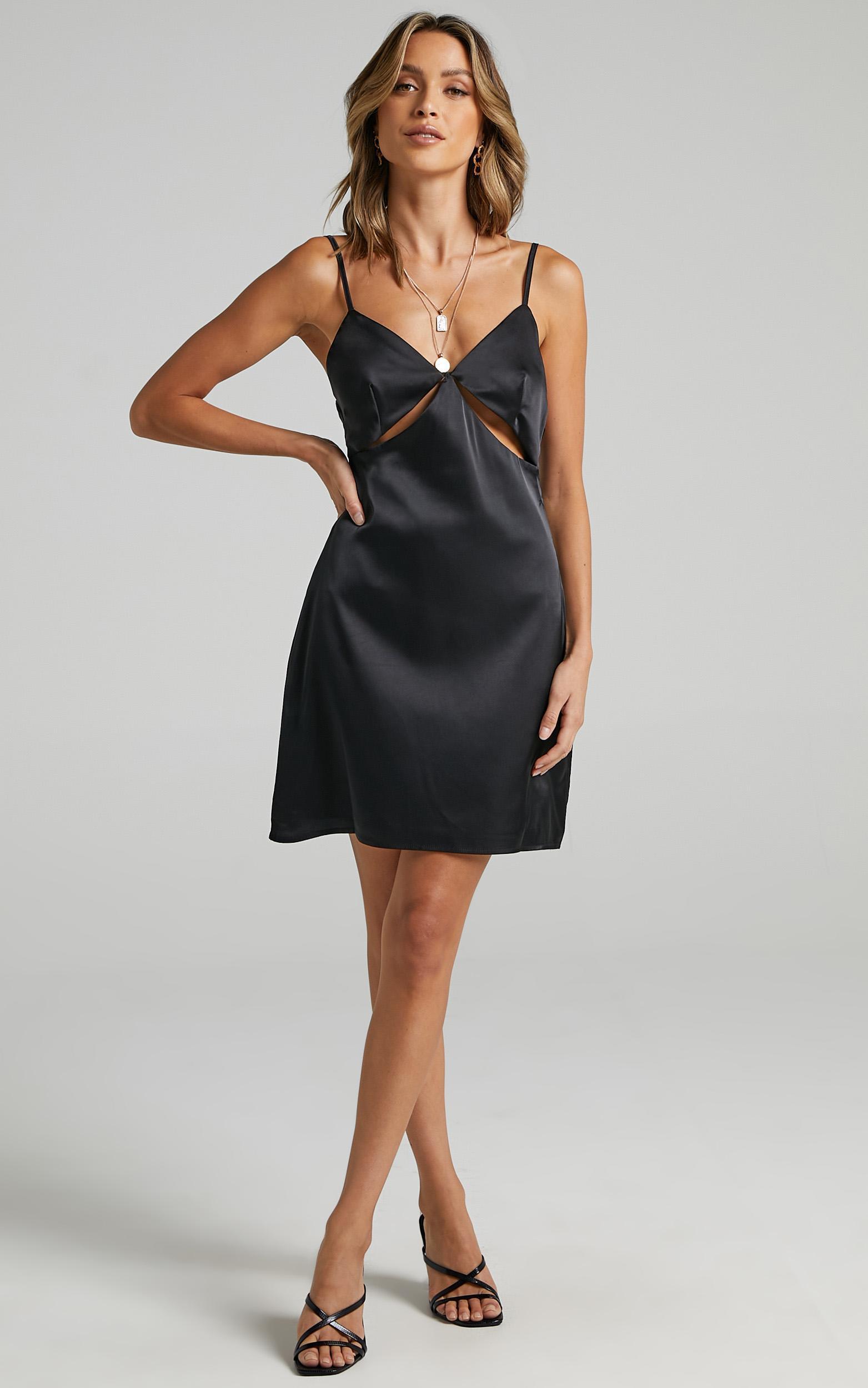 Puglia Dress in Black Satin - 6 (XS), Black, hi-res image number null