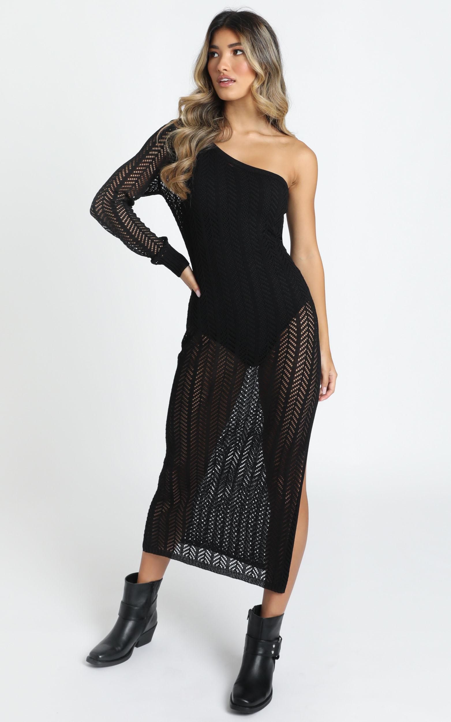 Drop Your Love Knit Dress in black - 14 (XL), Black, hi-res image number null