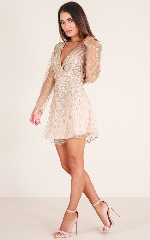 Dreamy Nights Dress in Gold Sparkle - 14 (XL), Gold, hi-res image number null