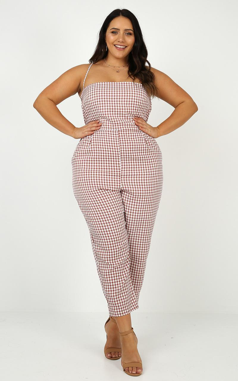 Little liar jumpsuit in blush gingham - 14 (XL), Blush, hi-res image number null