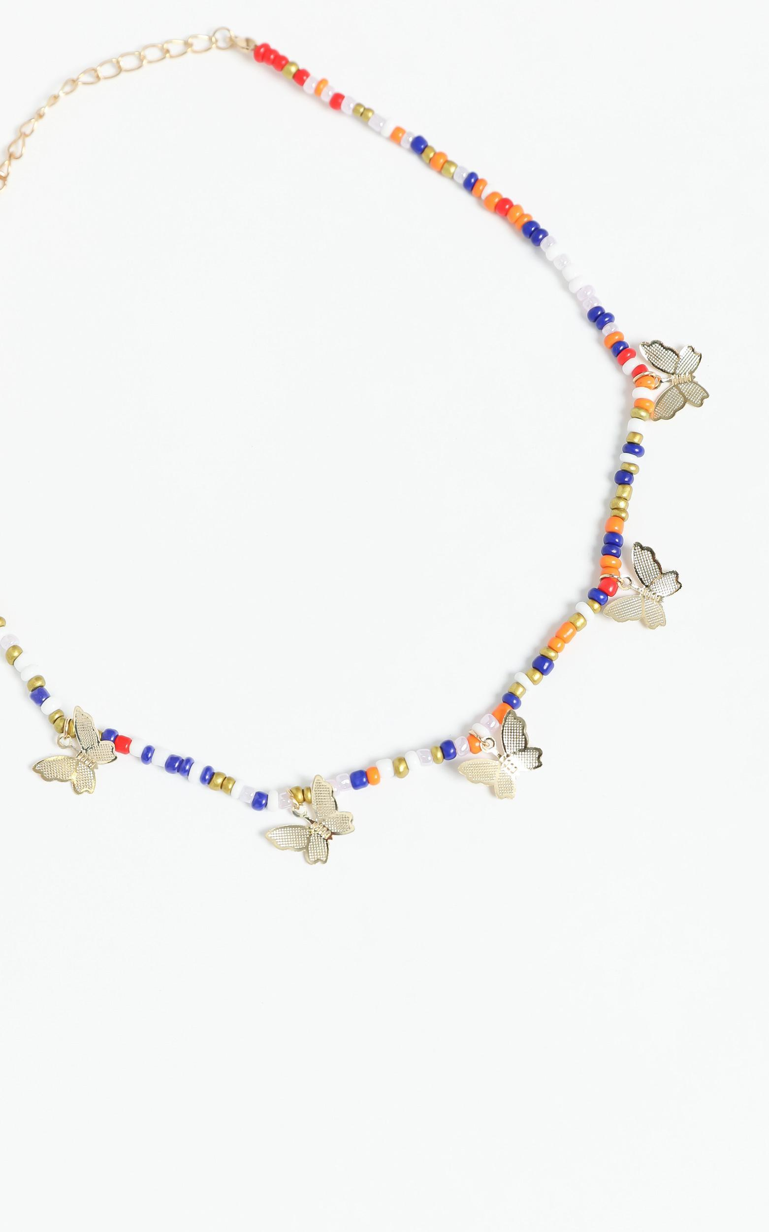 Beaded Necklace with Butterflies in Multi, , hi-res image number null
