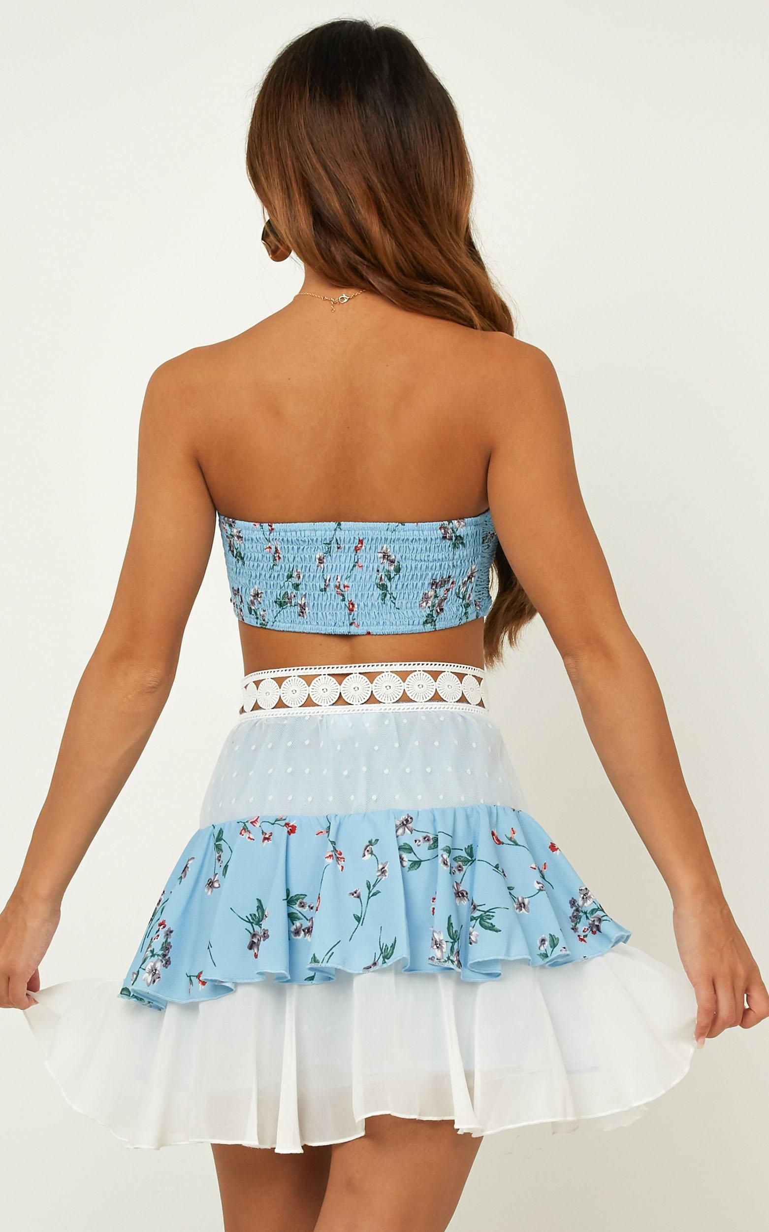 Tier Me two piece set in Blue Floral - 4 (XXS), Blue, hi-res image number null