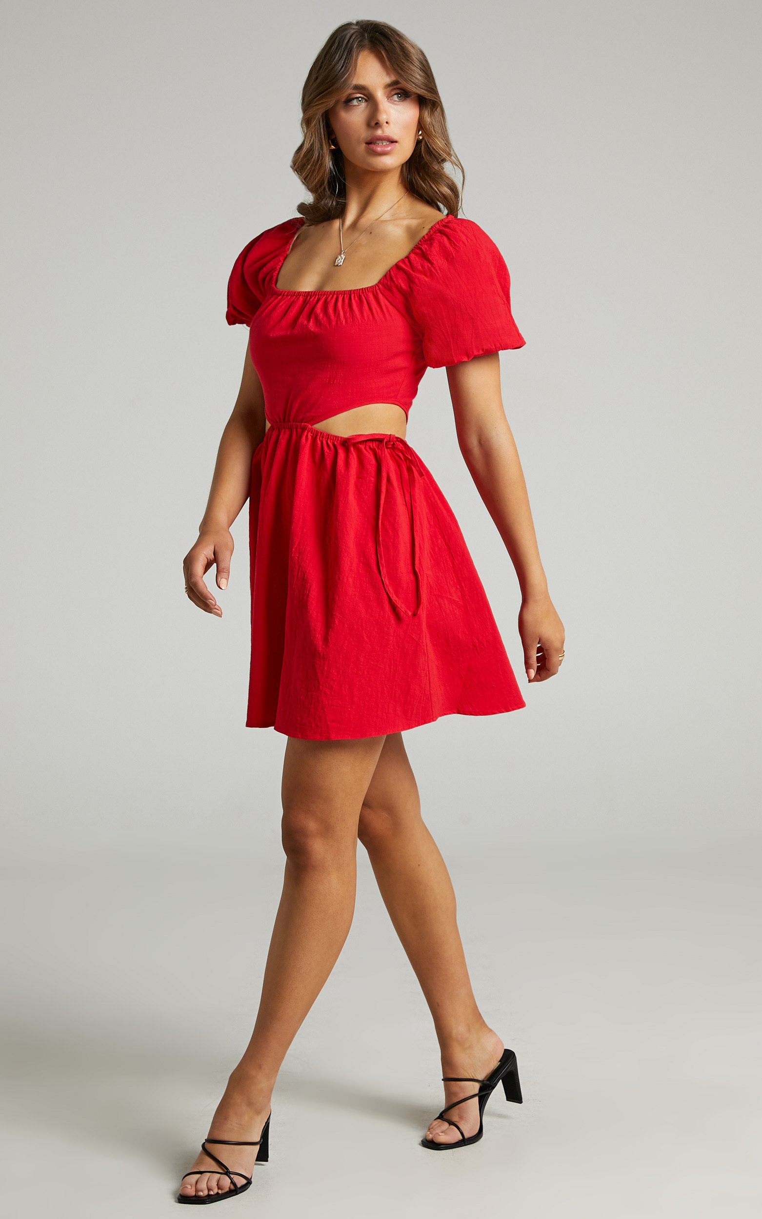 Loriella Waist Cut Out Skater Skirt Dress in Red - 06, RED1, hi-res image number null