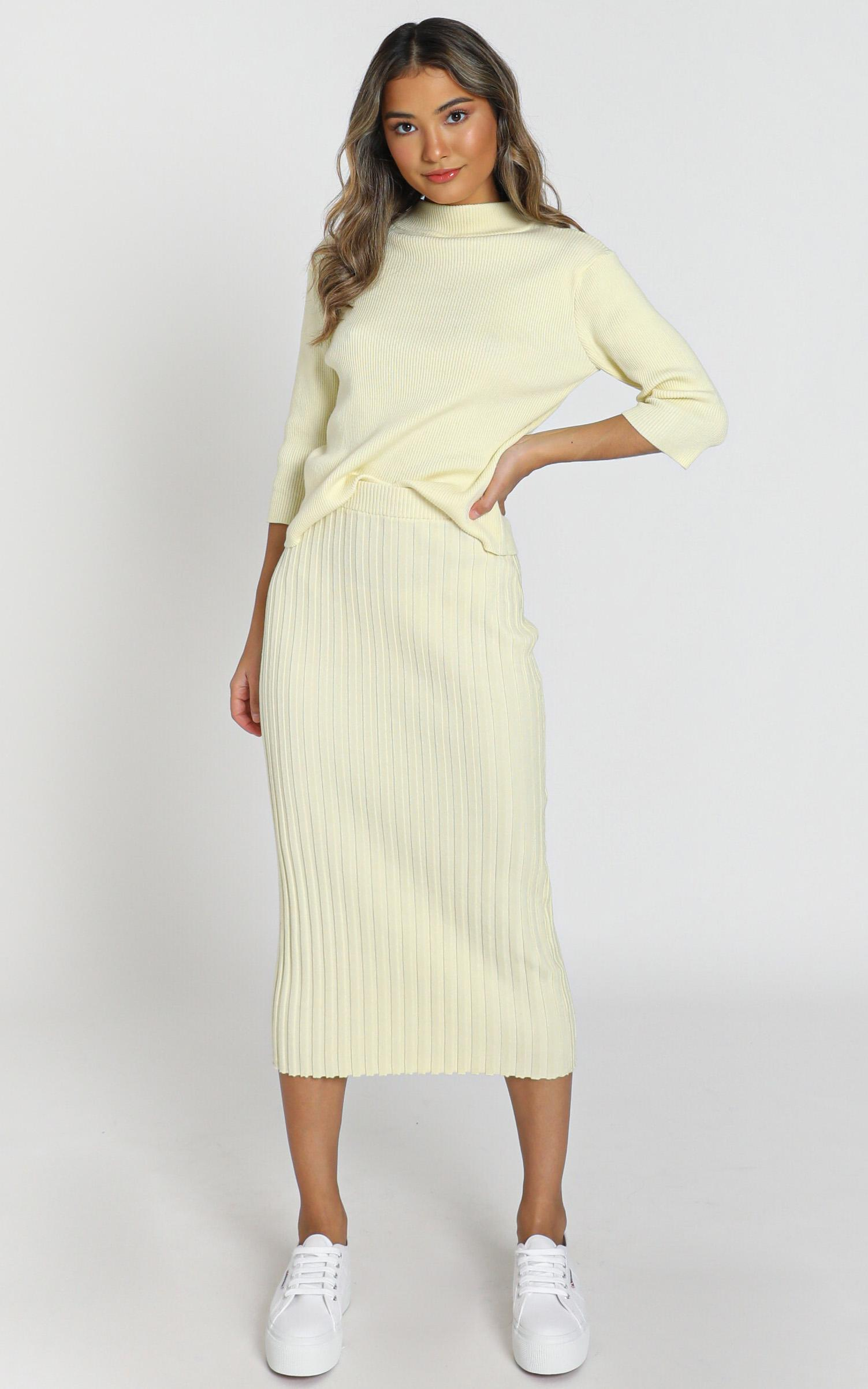 Cicely Knitted Skirt in pastel yellow - S, Yellow, hi-res image number null