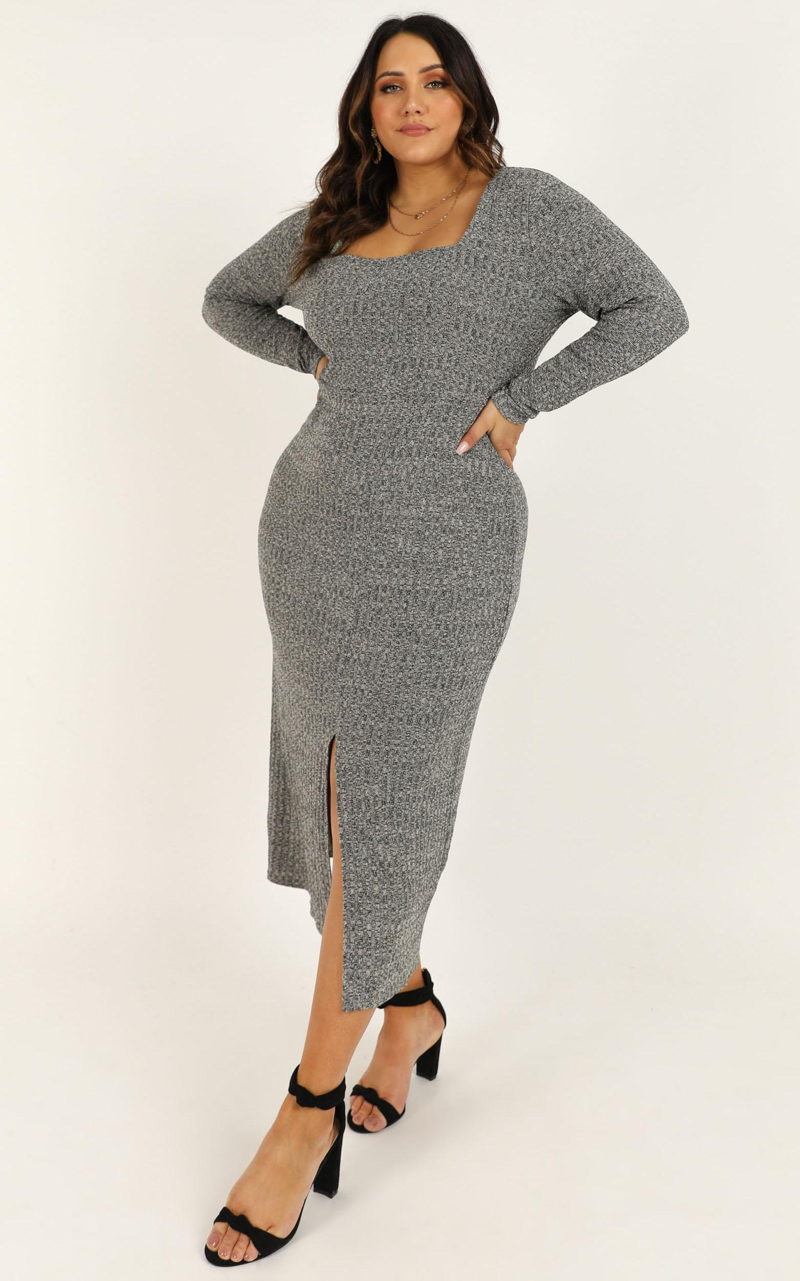 Enjoy the moment dress in grey marle - 20 (XXXXL), Grey, hi-res image number null