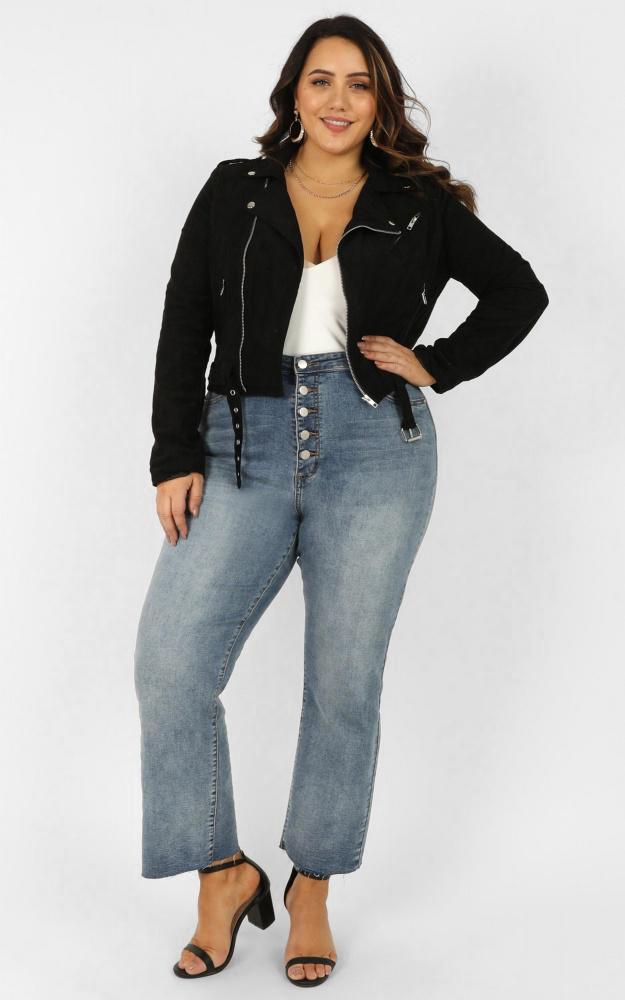 Rocker Chick Jacket in Black Suedette - 20 (XXXXL), Black, hi-res image number null