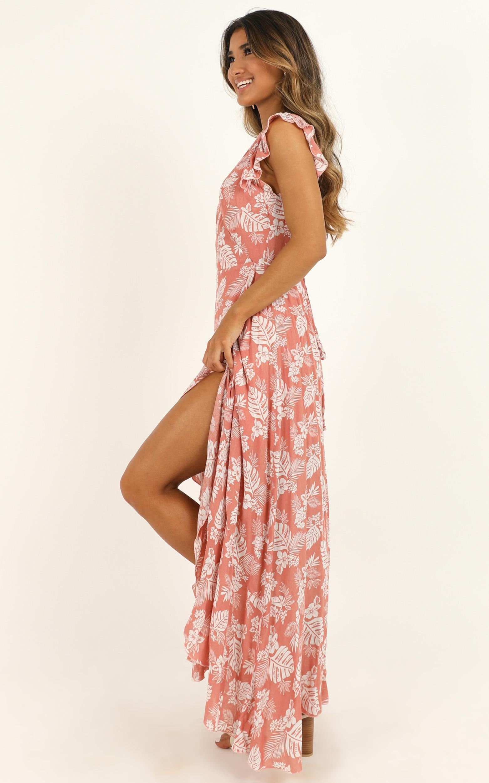 Curating Love Maxi Dress in coral floral  - 20 (XXXXL), Pink, hi-res image number null