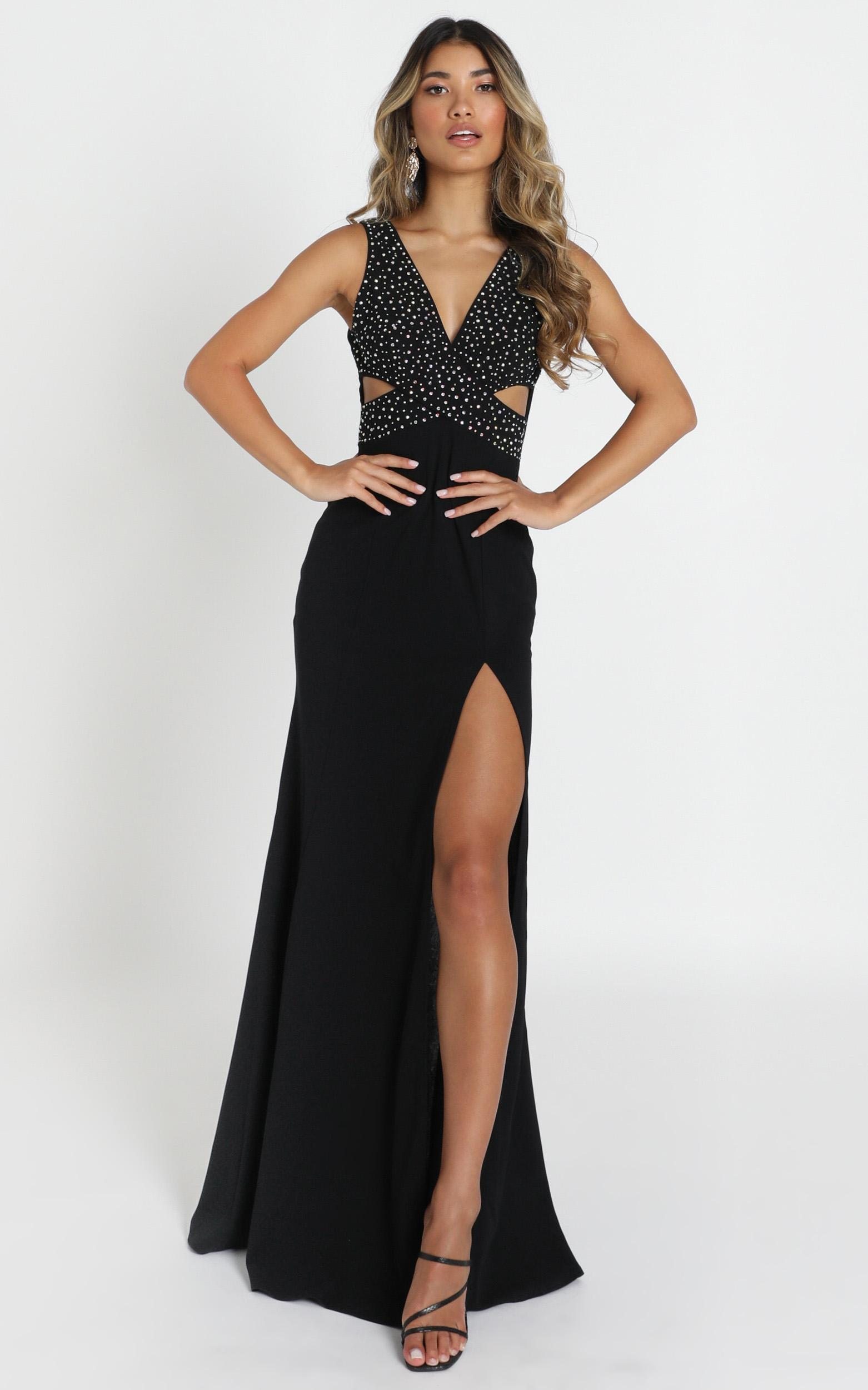 Meaghan Maxi Dress in black sequin - 12 (L), Black, hi-res image number null