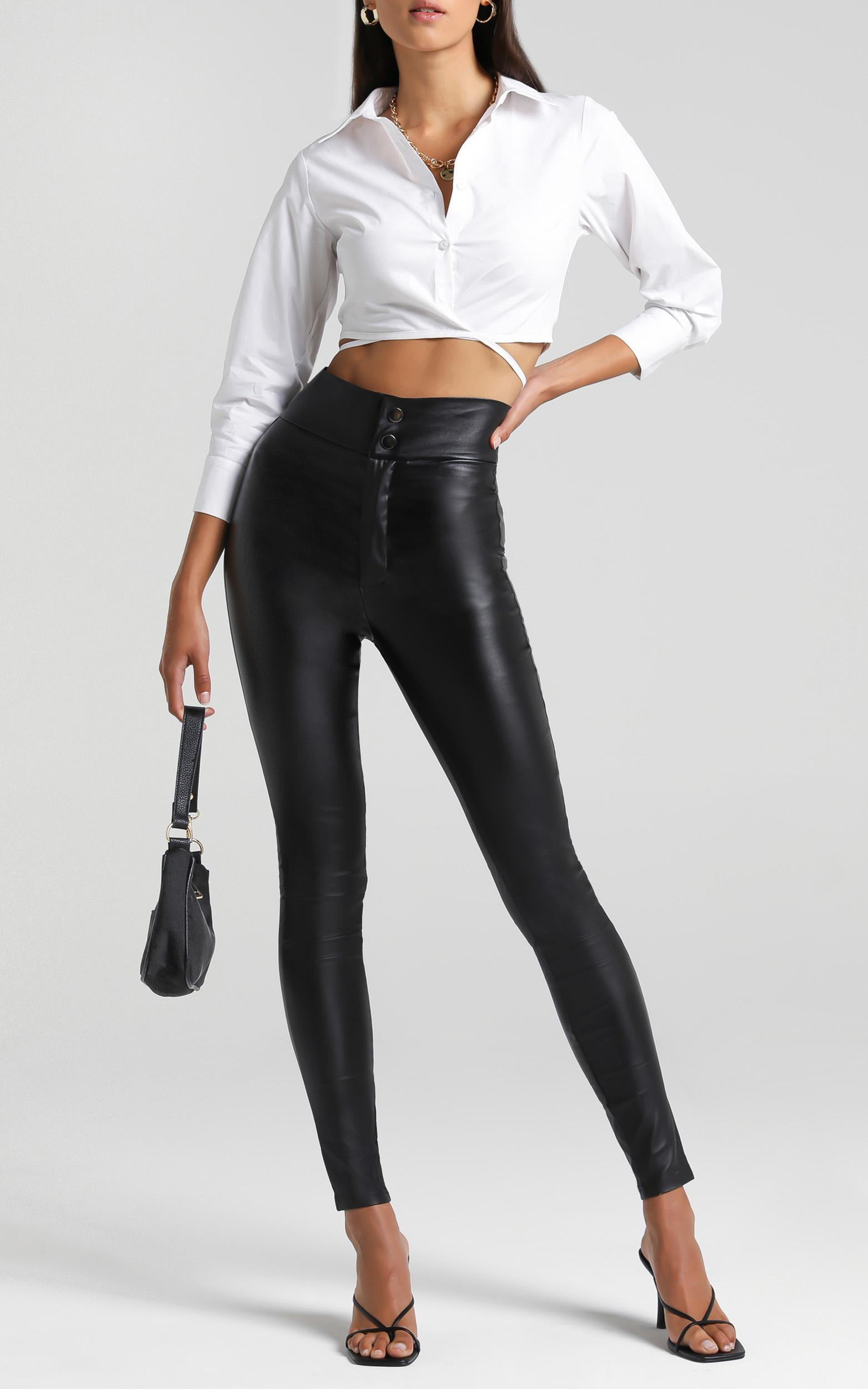 Whatever We Want Pants In black leatherette - 20 (XXXXL), Black, hi-res image number null