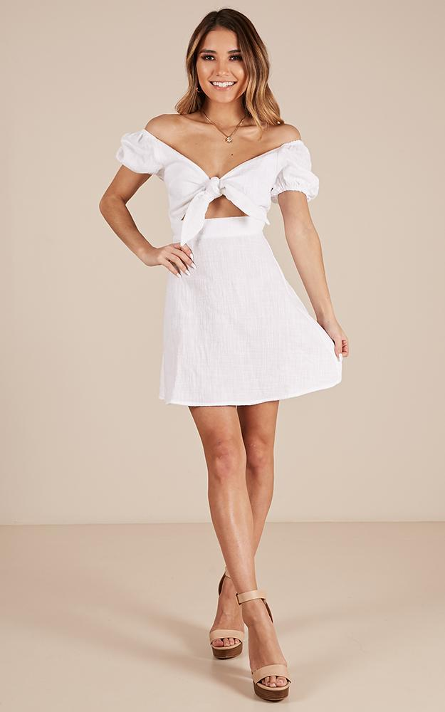 Youthful Energy Dress in white linen look - 20 (XXXXL), White, hi-res image number null