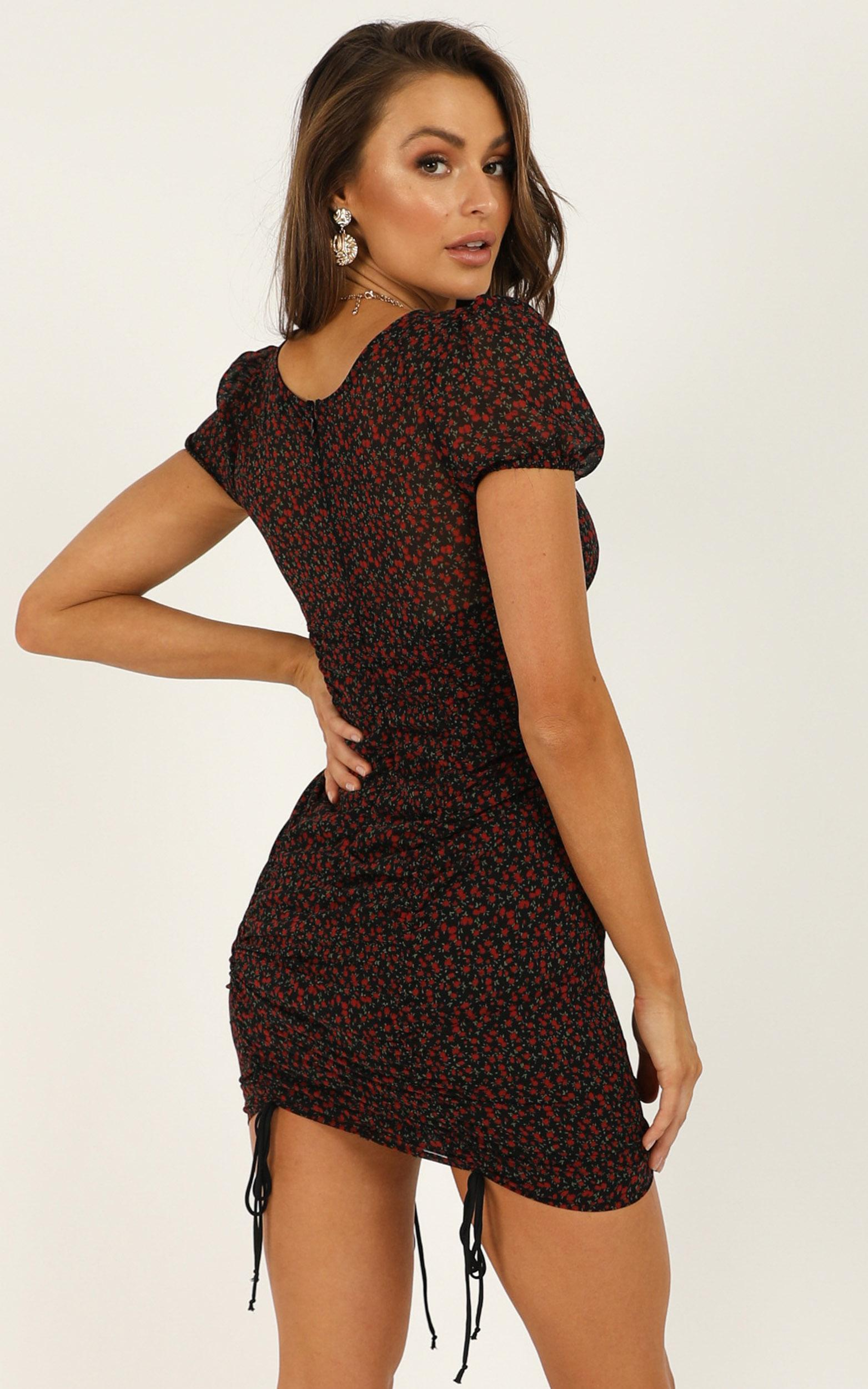 Continue The Rise dress in black floral - 12 (L), Black, hi-res image number null