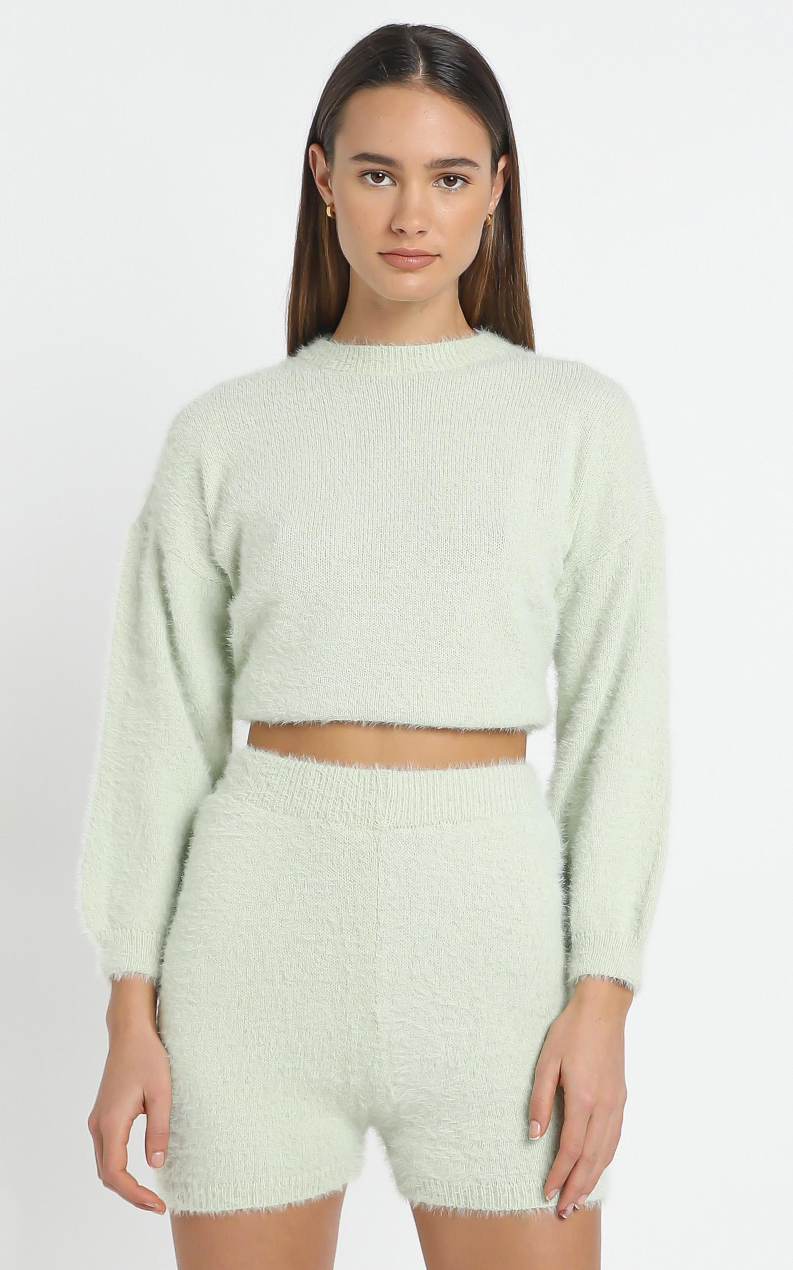 Loretta Fluffy Knit Two Piece Set in Sage - L/XL, Sage, hi-res image number null