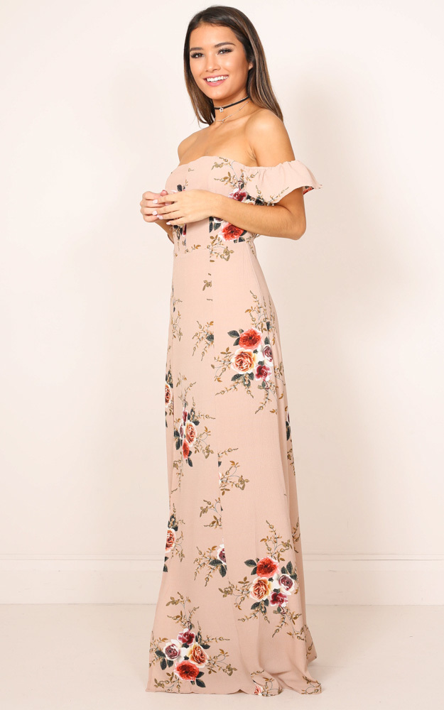 A Floral Affair Maxi Dress in mocha floral - 8 (S), Mocha, hi-res image number null