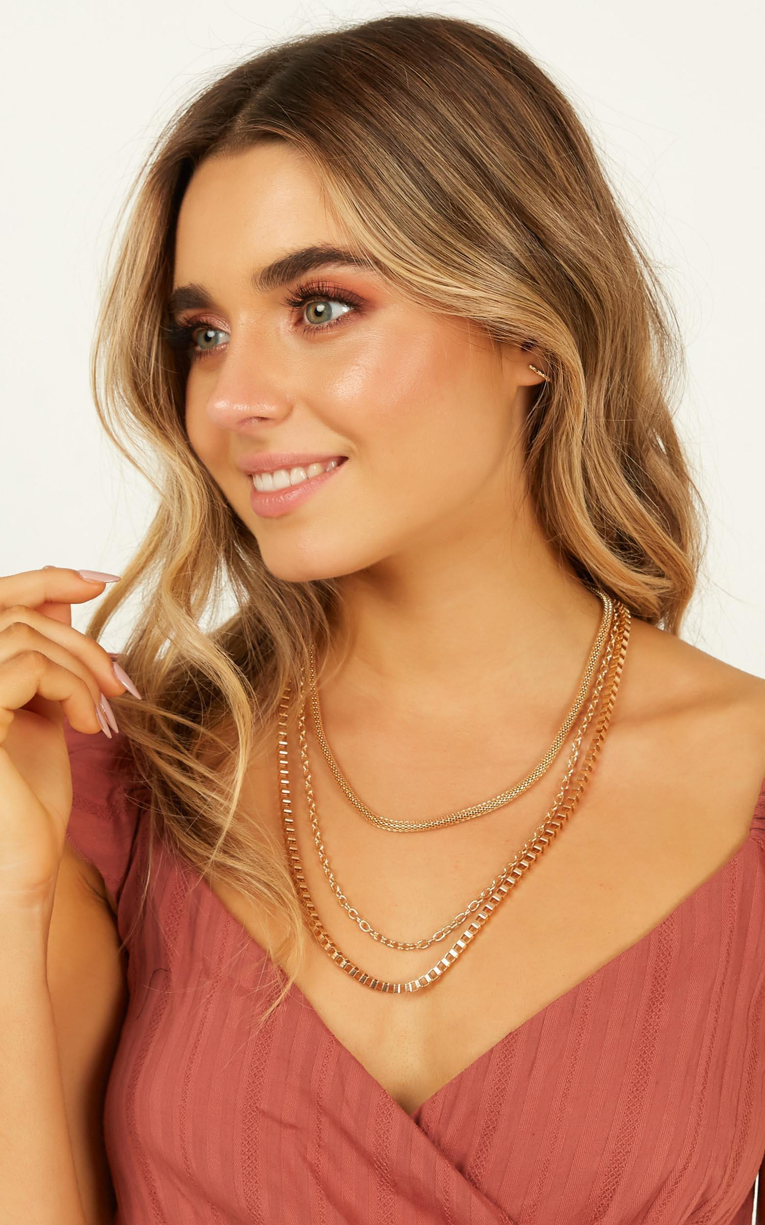 No More Feels Layered Necklace In Gold, , hi-res image number null