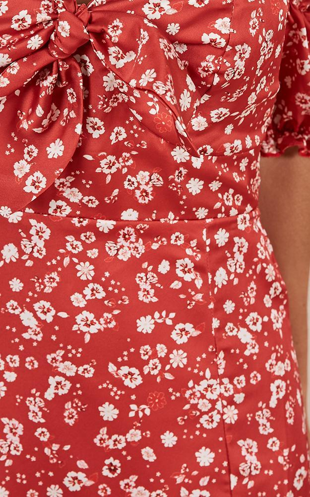 Girl Of Wonder Dress in red floral satin - 20 (XXXXL), Red, hi-res image number null