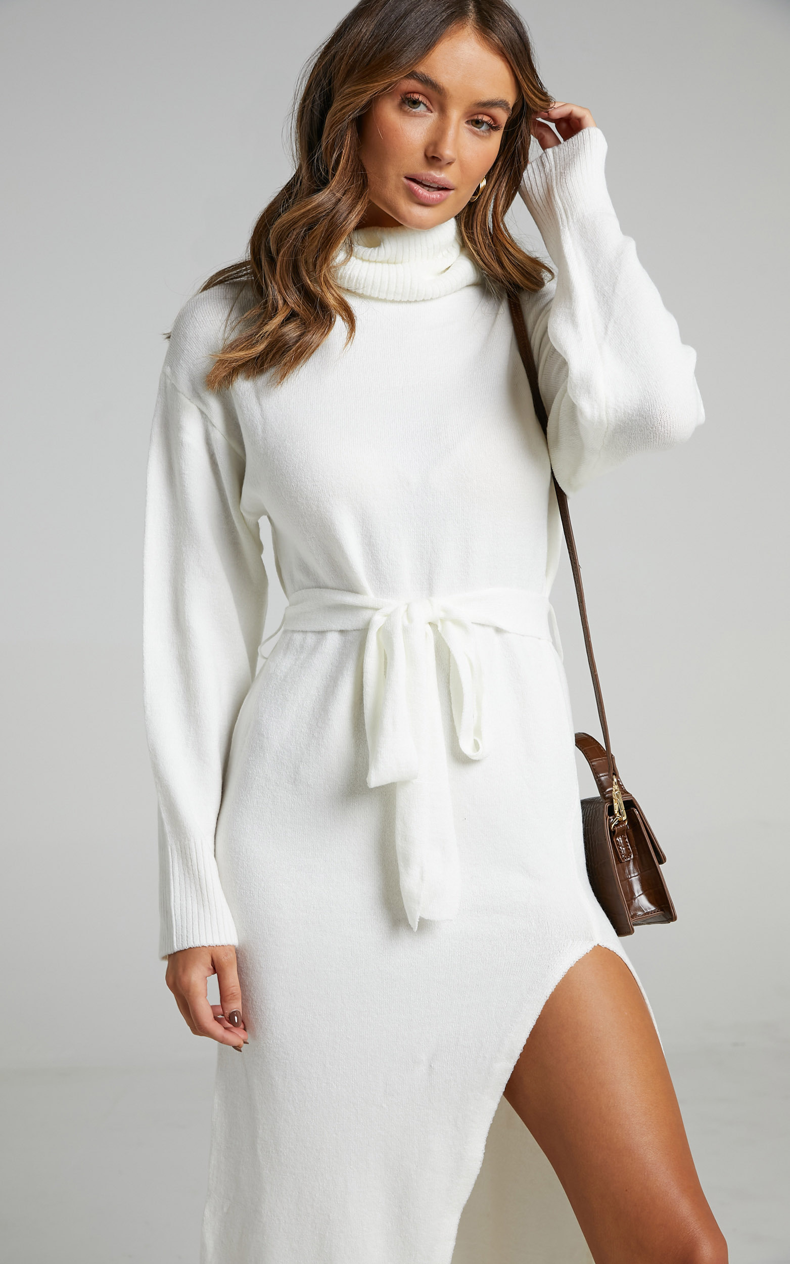 Marbella Turtle Neck Knit Dress in White - 06, WHT1, hi-res image number null