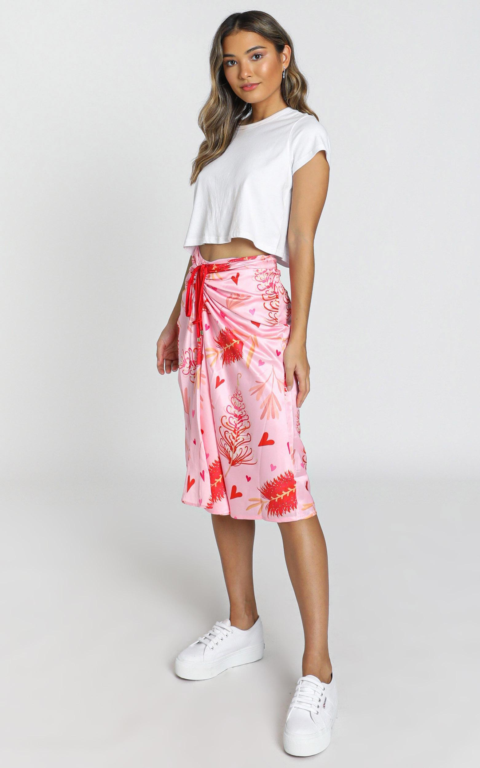 ZYA The Label - Myrtle Magic Skirt in pink print, PNK2, hi-res image number null