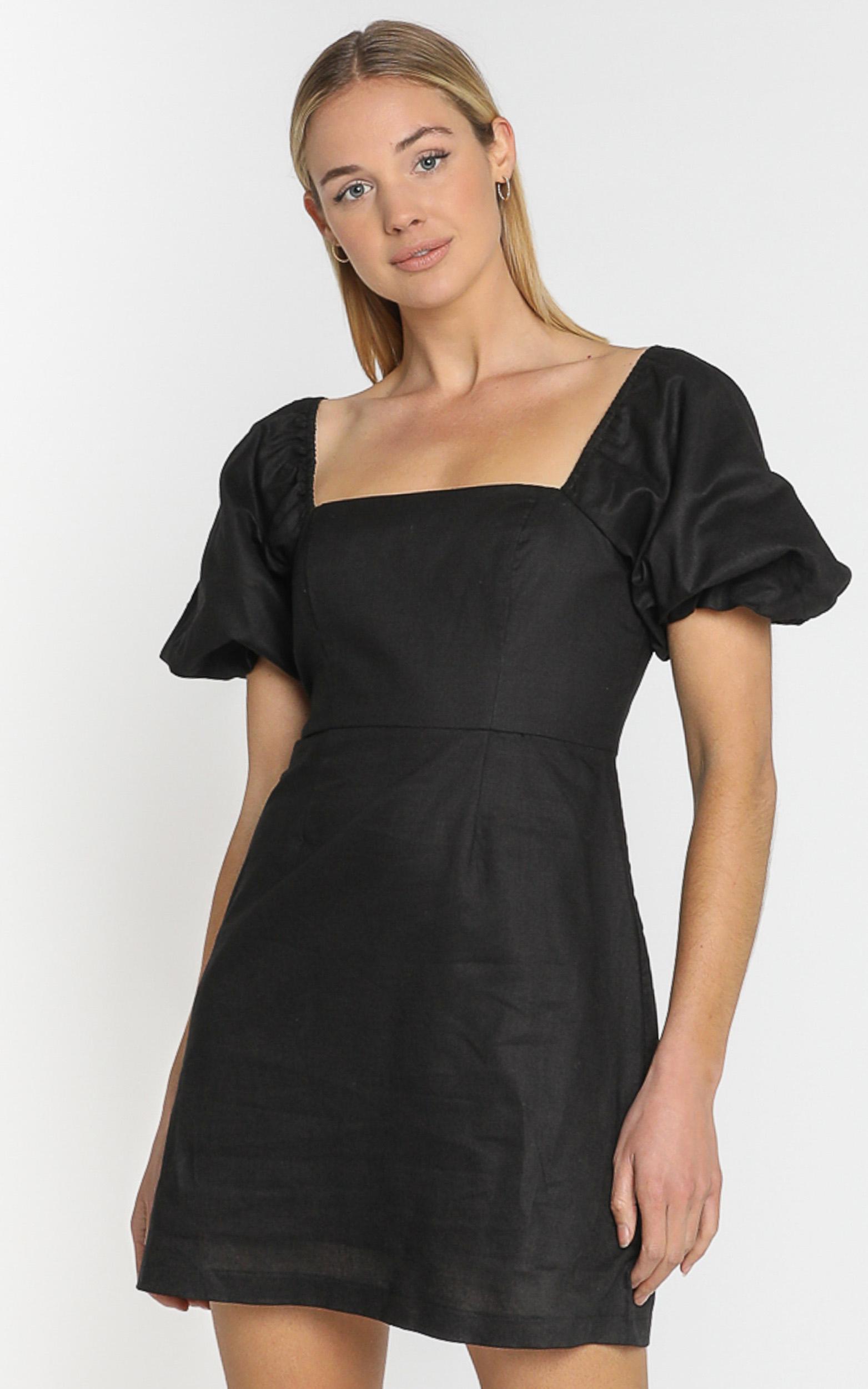 Lulu & Rose - Ari Linen Dress in Black - 4 (XXS), Black, hi-res image number null