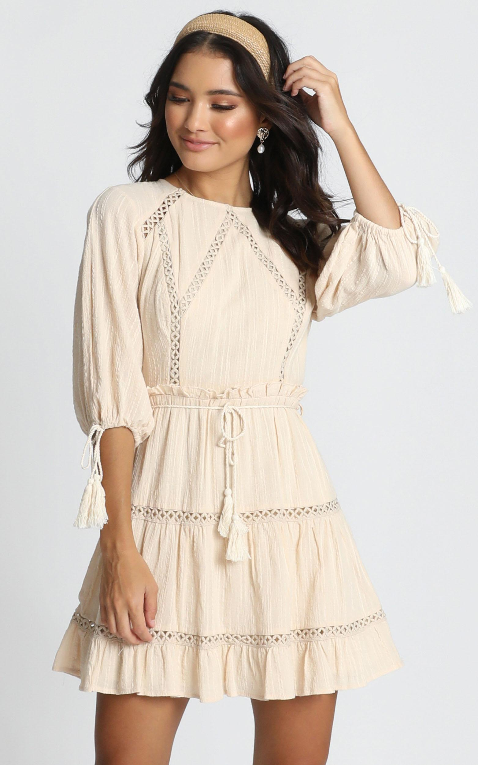 Edith Mini Dress in beige embroidery - 12 (L), Beige, hi-res image number null