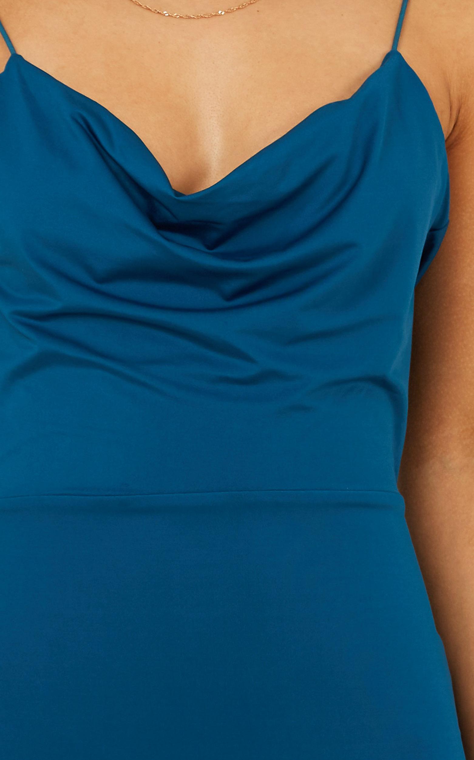 Tasteful dress in teal - 20 (XXXXL), Blue, hi-res image number null
