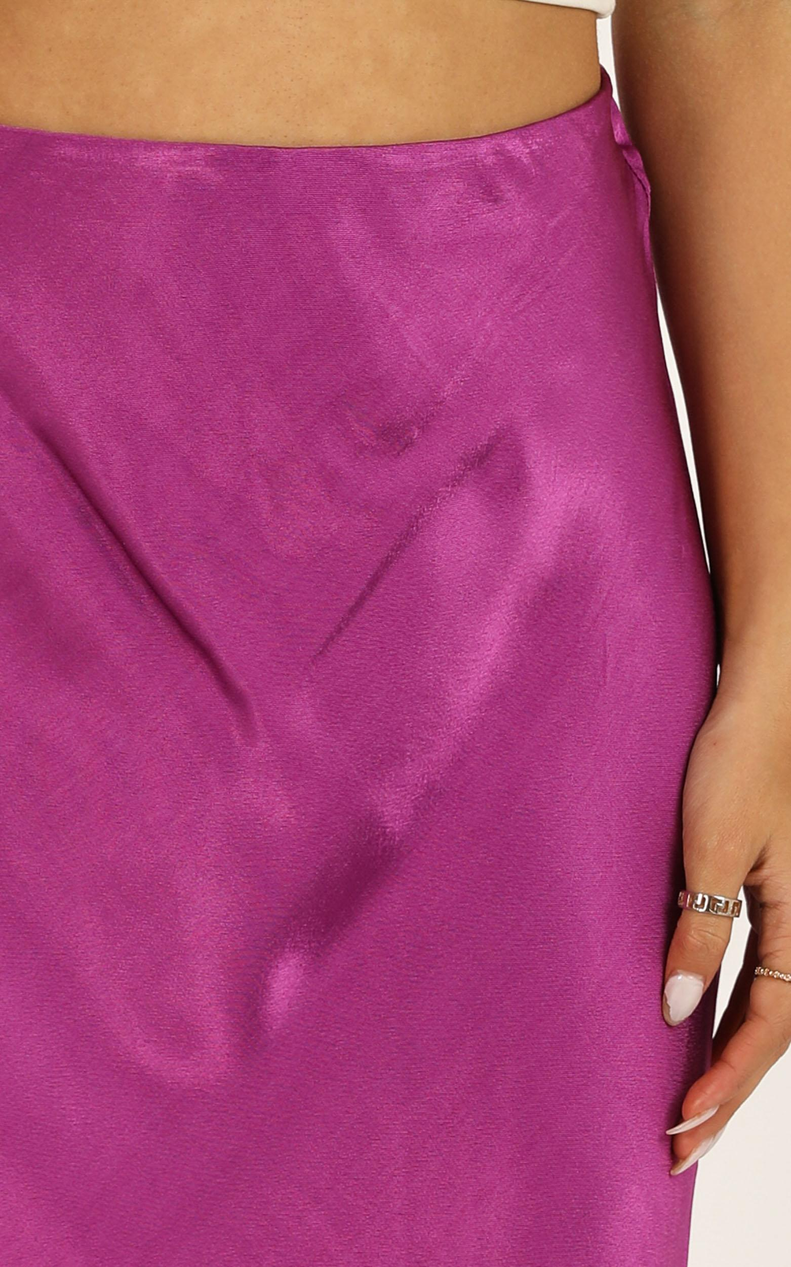 Closing Thought skirt in purple satin - 6 (XS), Purple, hi-res image number null