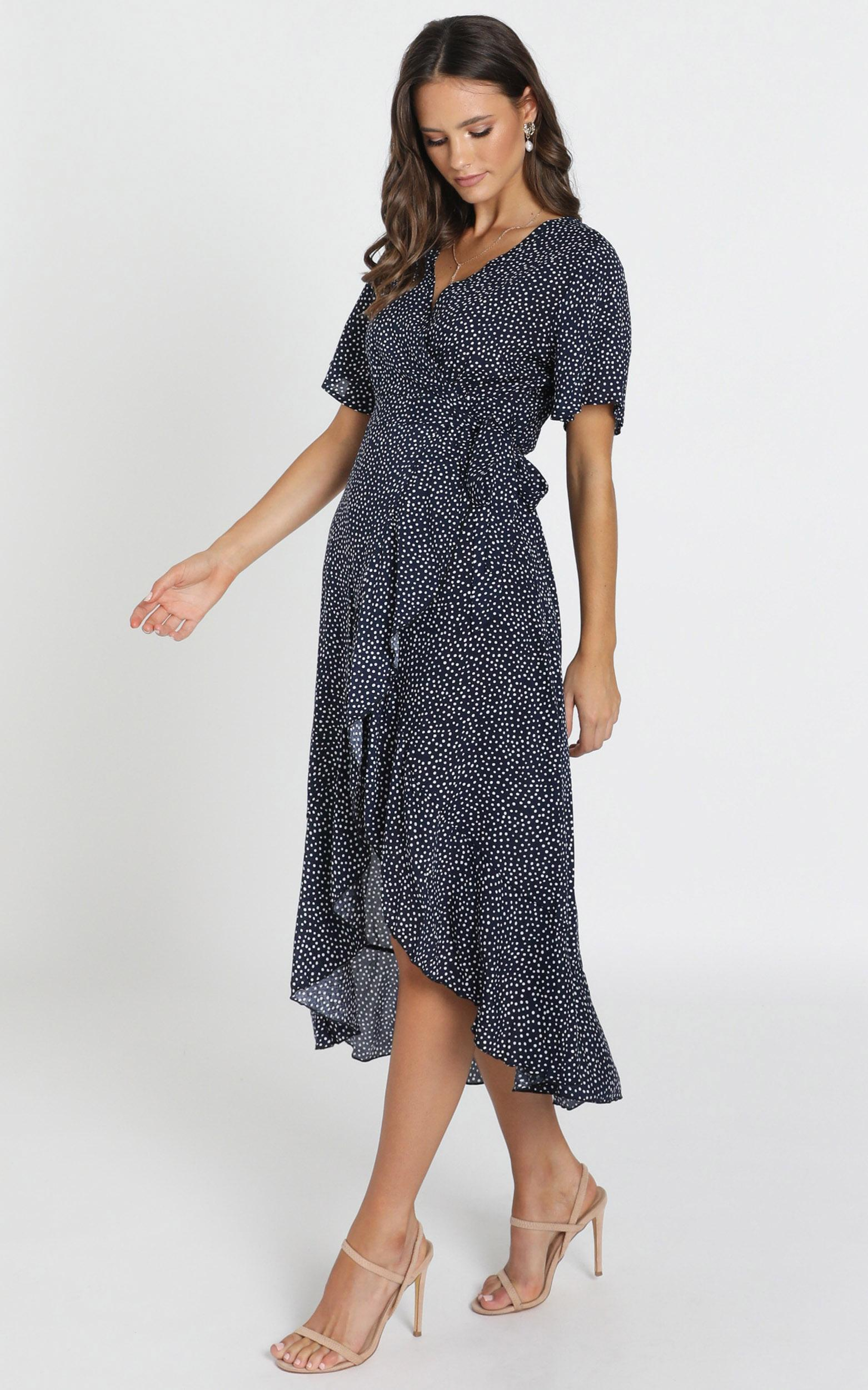 Yelina Wrap Maxi Dress in navy spot - 14 (XL), Navy, hi-res image number null