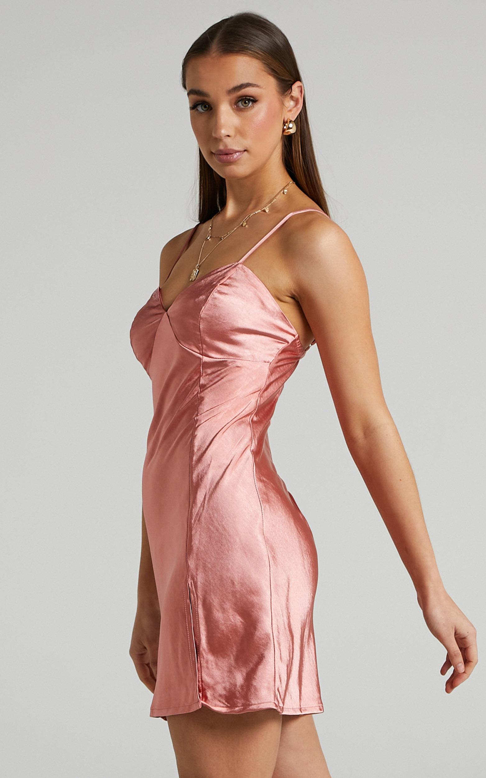 Ollea Mini Satin Slip Dress in Coral - 06, PNK2, hi-res image number null