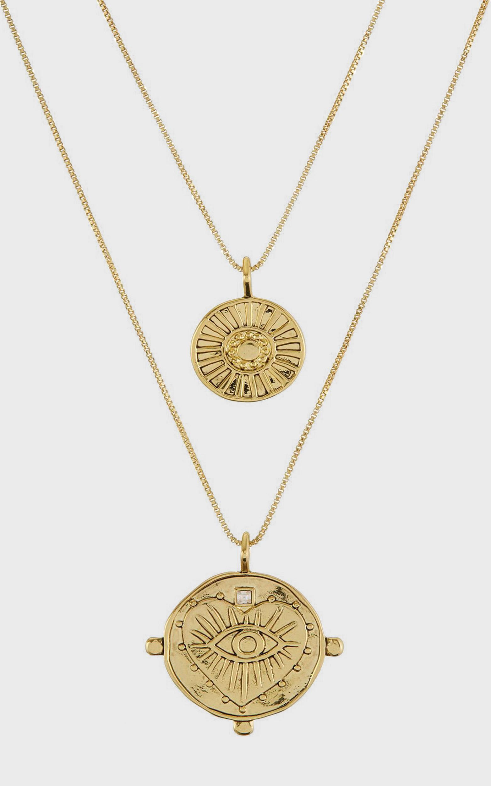Luv Aj - The Evil Eye Double Coin Necklace in Gold, , hi-res image number null