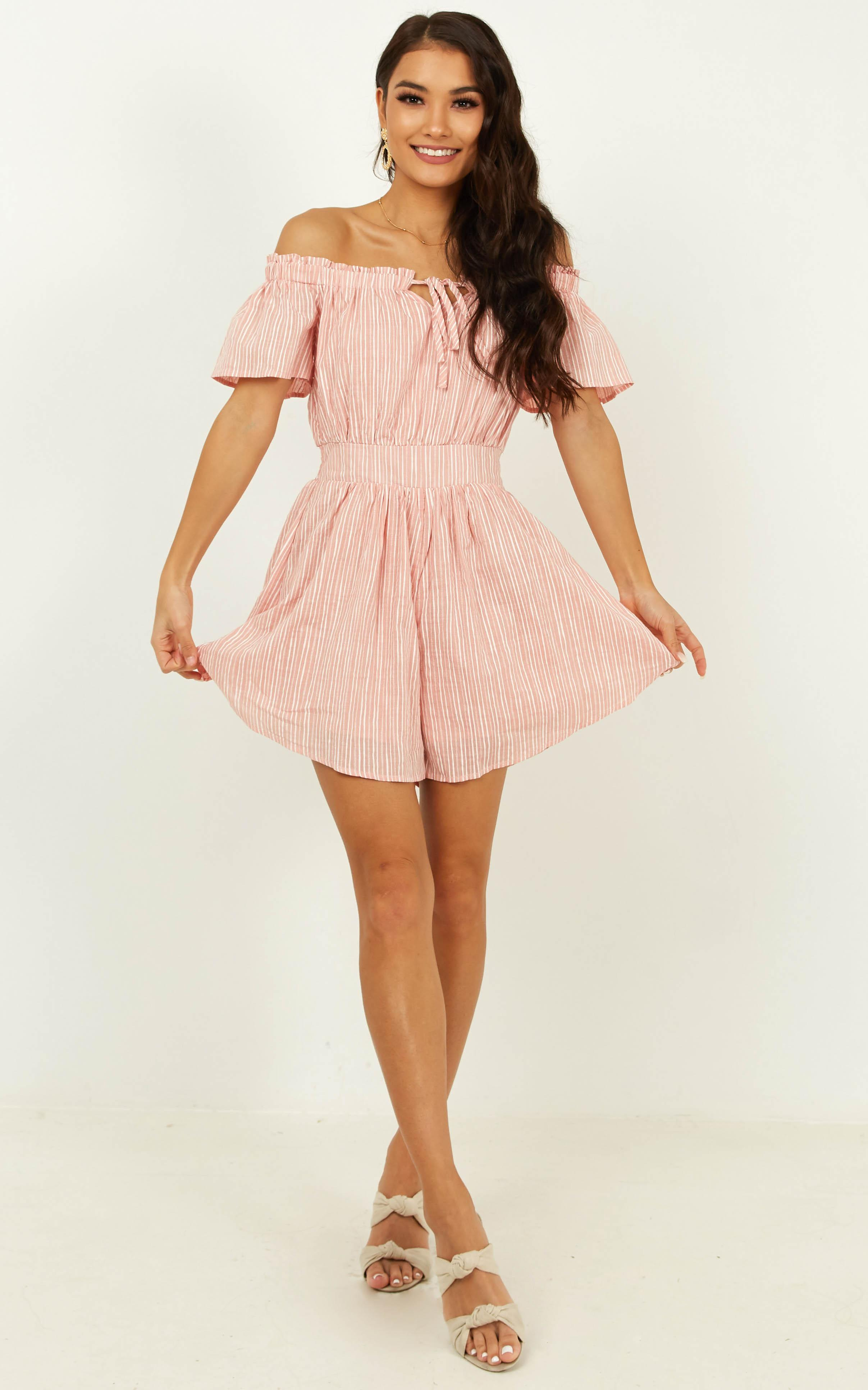 Through To You Playsuit in blush stripe - 18 (XXXL), Blush, hi-res image number null