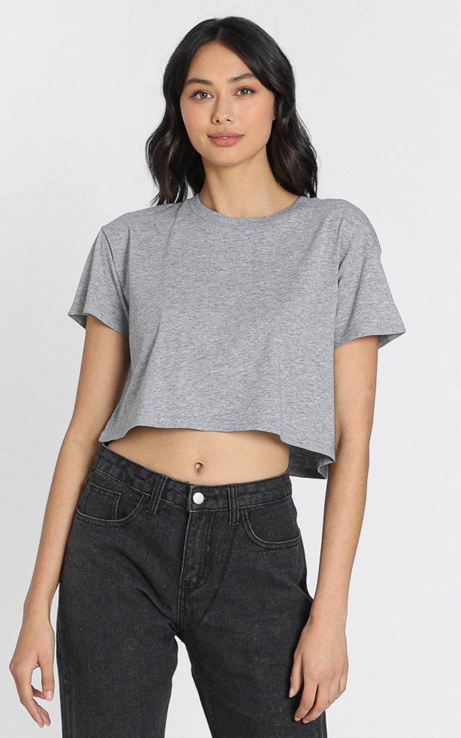 AS Colour - Crop Tee in Grey Marle - XS, Grey, hi-res image number null