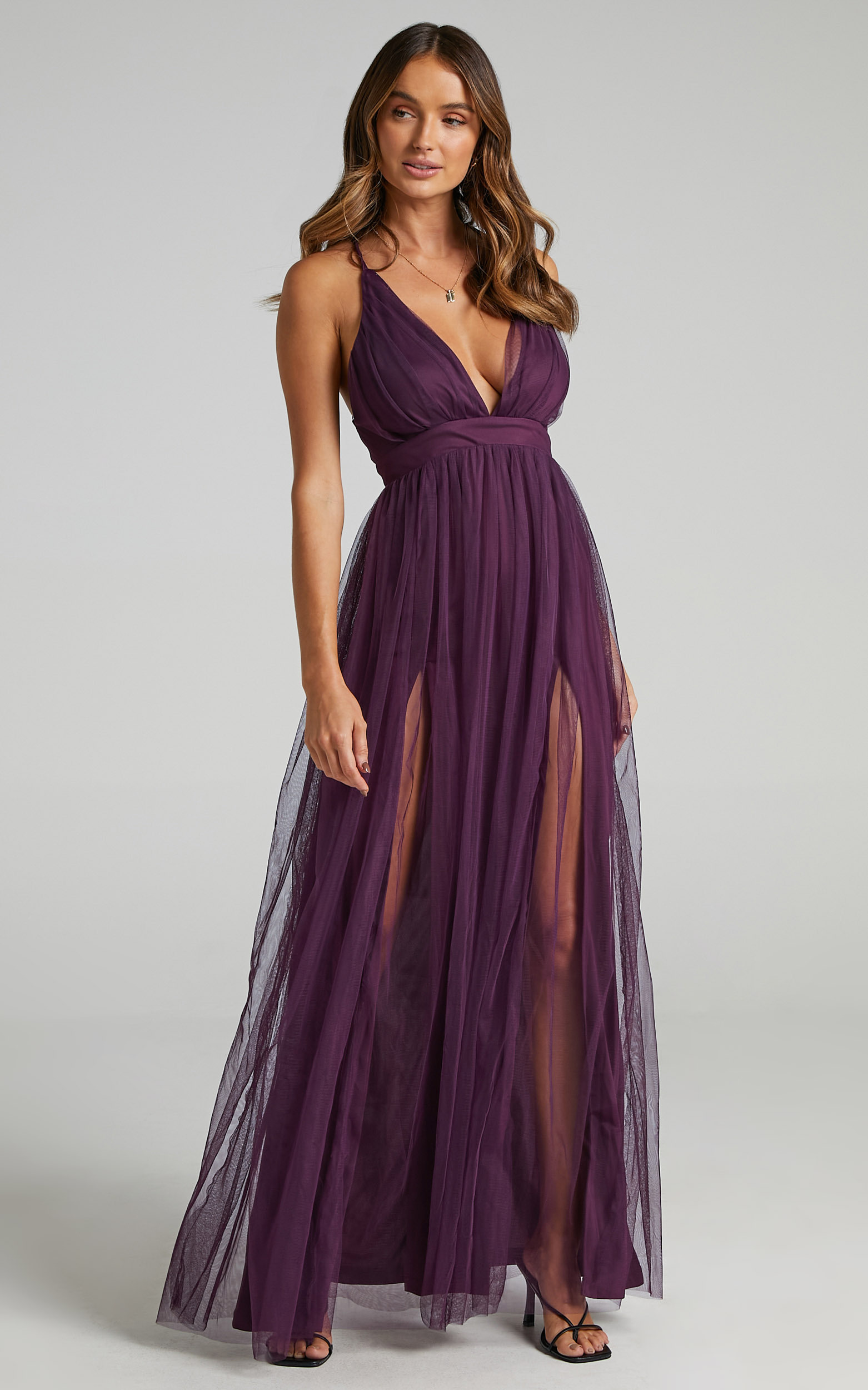Like A Vision Plunge Maxi Dress in Aubergine Tulle - 20, PRP4, hi-res image number null