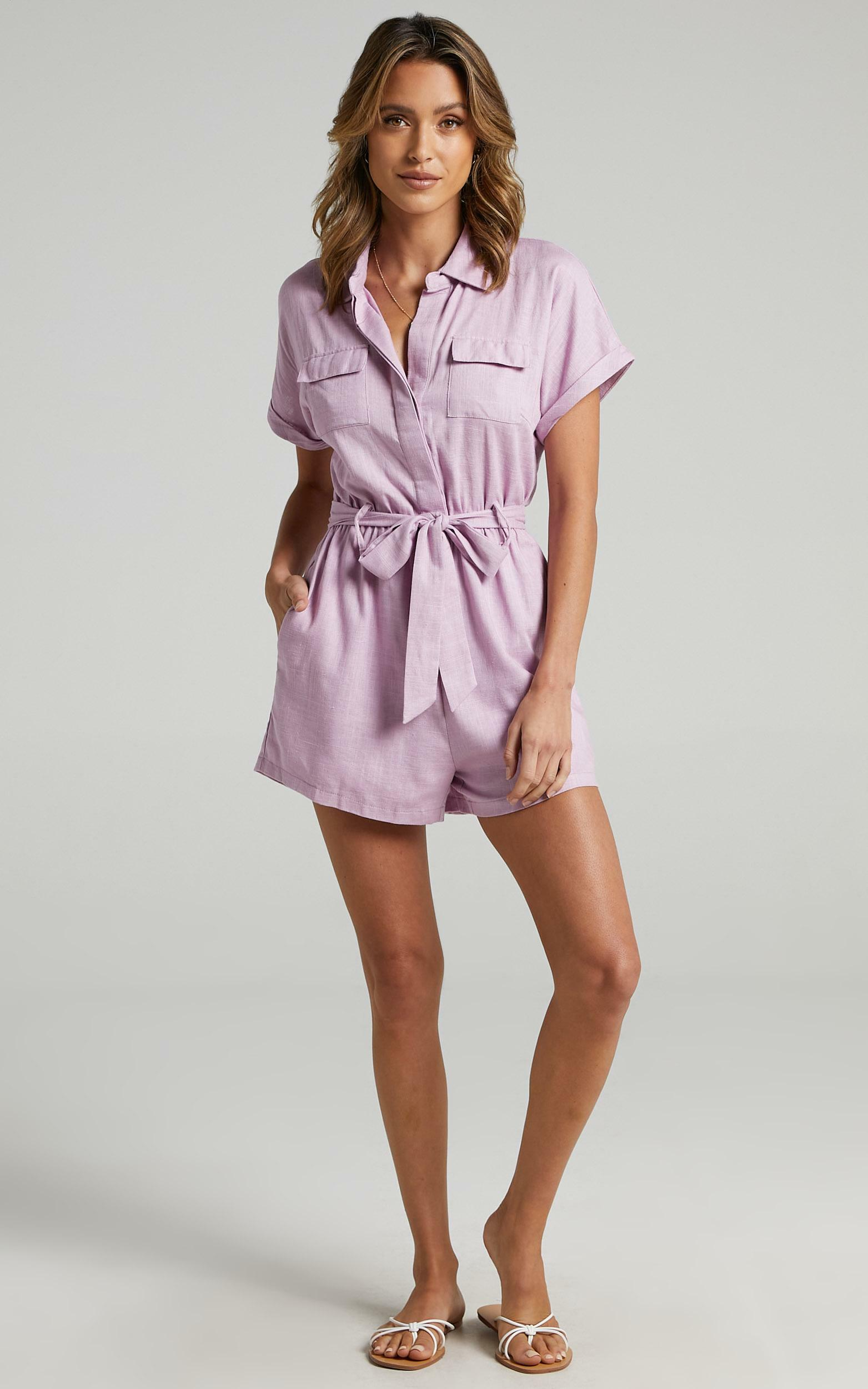 Zarina Belted Playsuit in Lilac - 12, PRP6, hi-res image number null