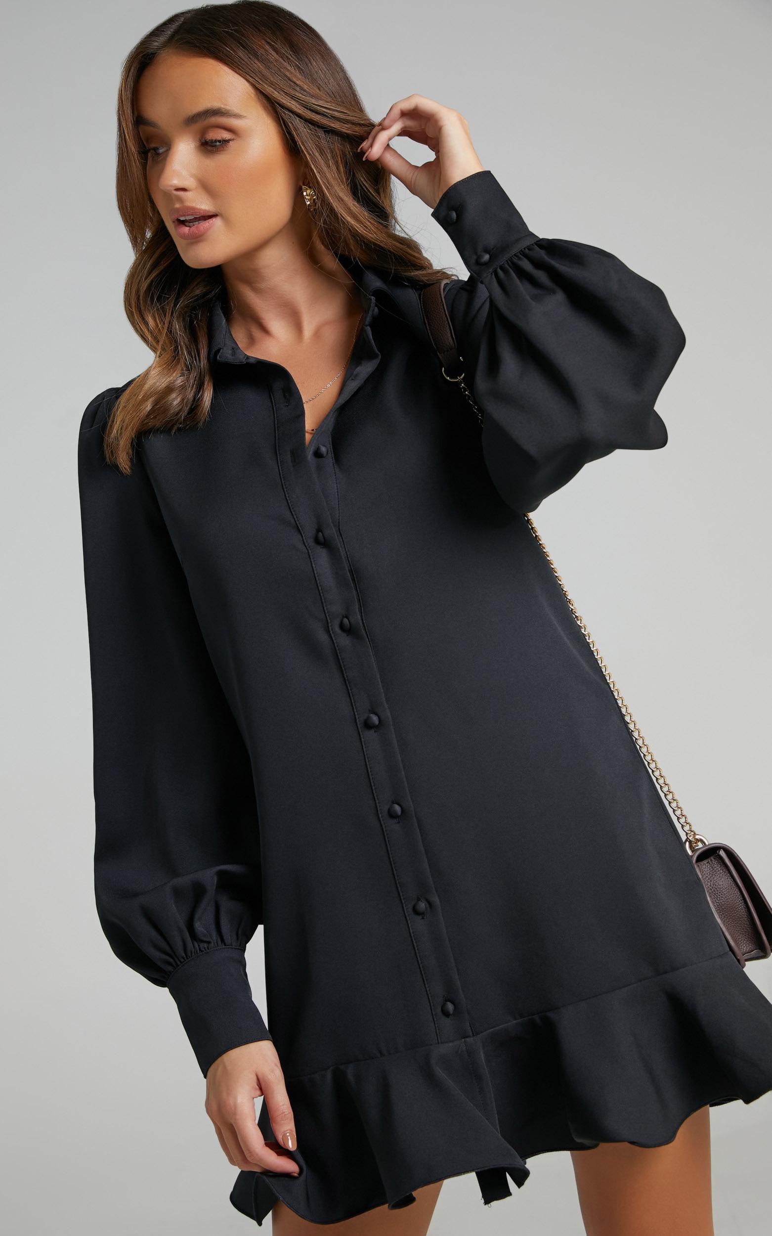 Mica Frill Hem Balloon Sleeve Shirt Mini Dress in Black - 06, BLK1, hi-res image number null