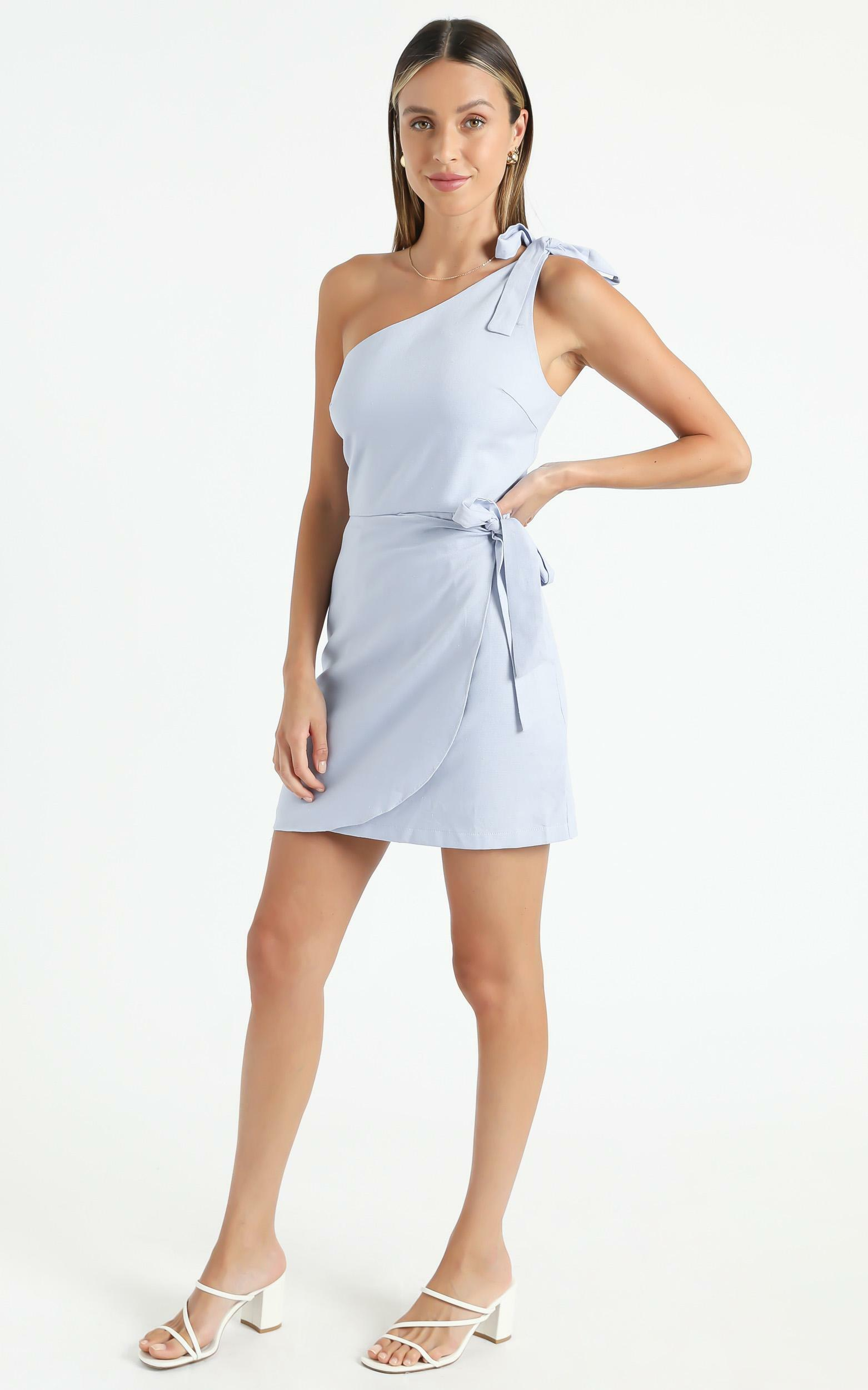 Keeping it together dress in Blue Linen Look - 6 (XS), Blue, hi-res image number null