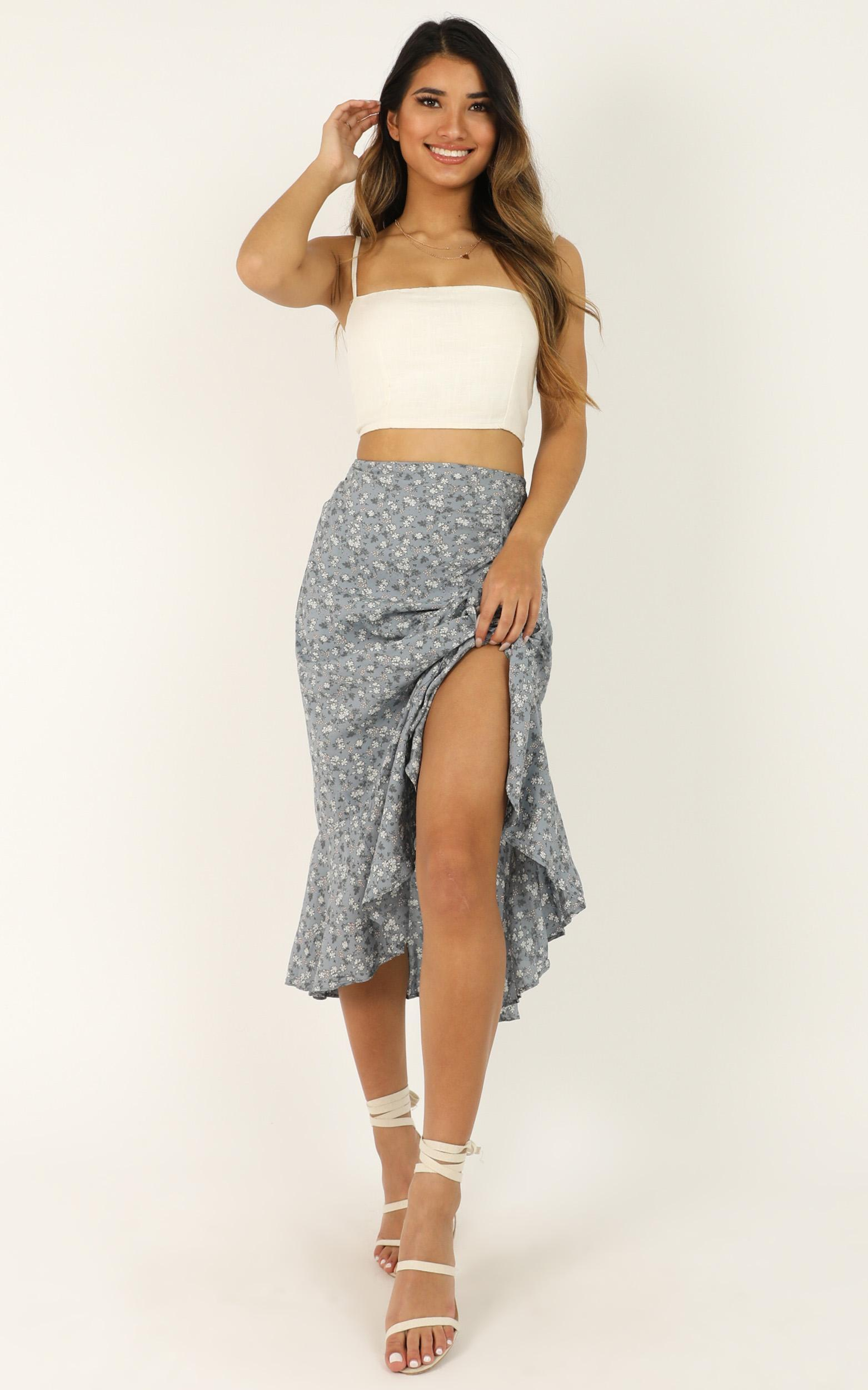 Pure Water Skirt In Blue Floral - 16 (XXL), Blue, hi-res image number null