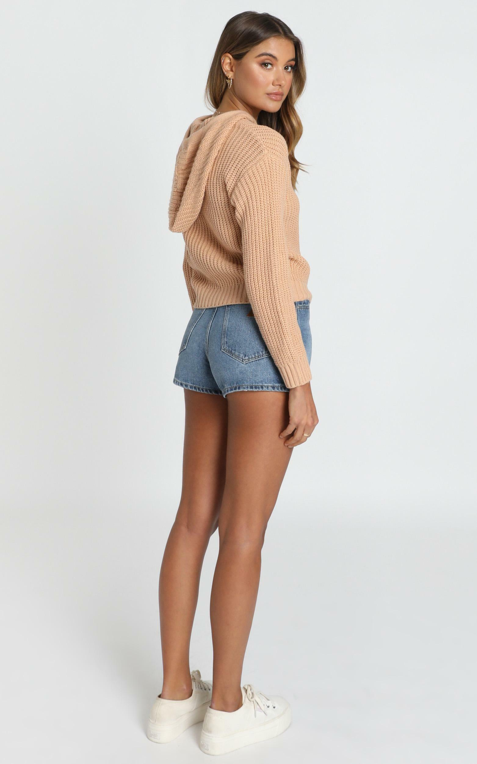 Only Love Hooded Knit Jumper in tan - L/XL, Tan, hi-res image number null