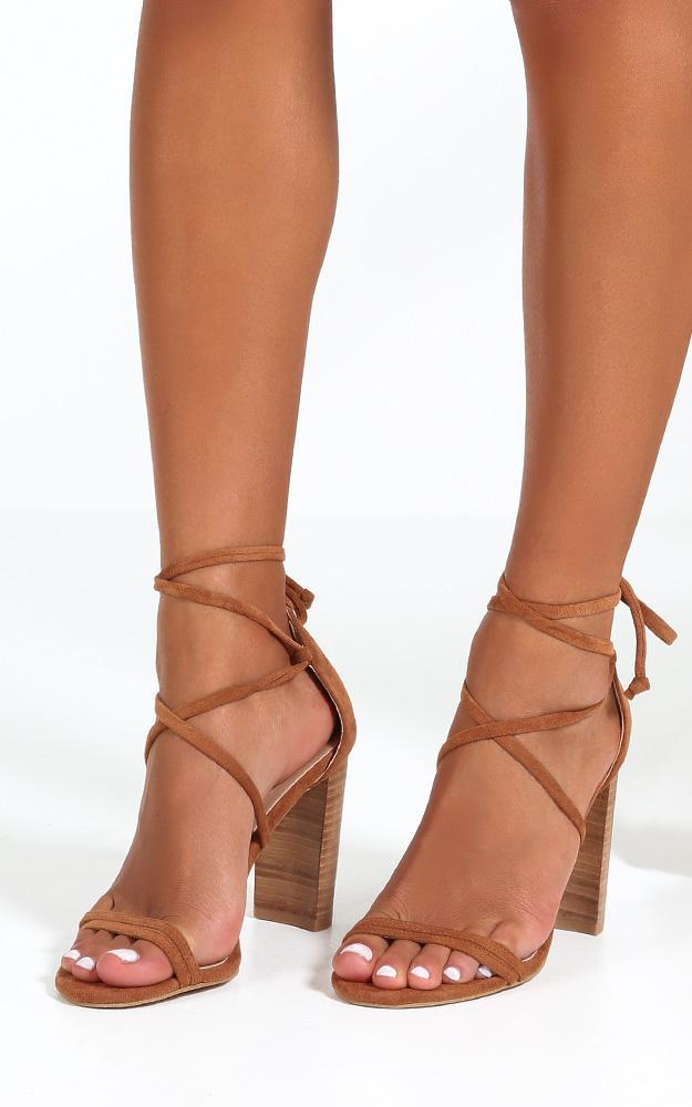 Showpo x Billini - Jace heels in chestnut micro - 10, Tan, hi-res image number null