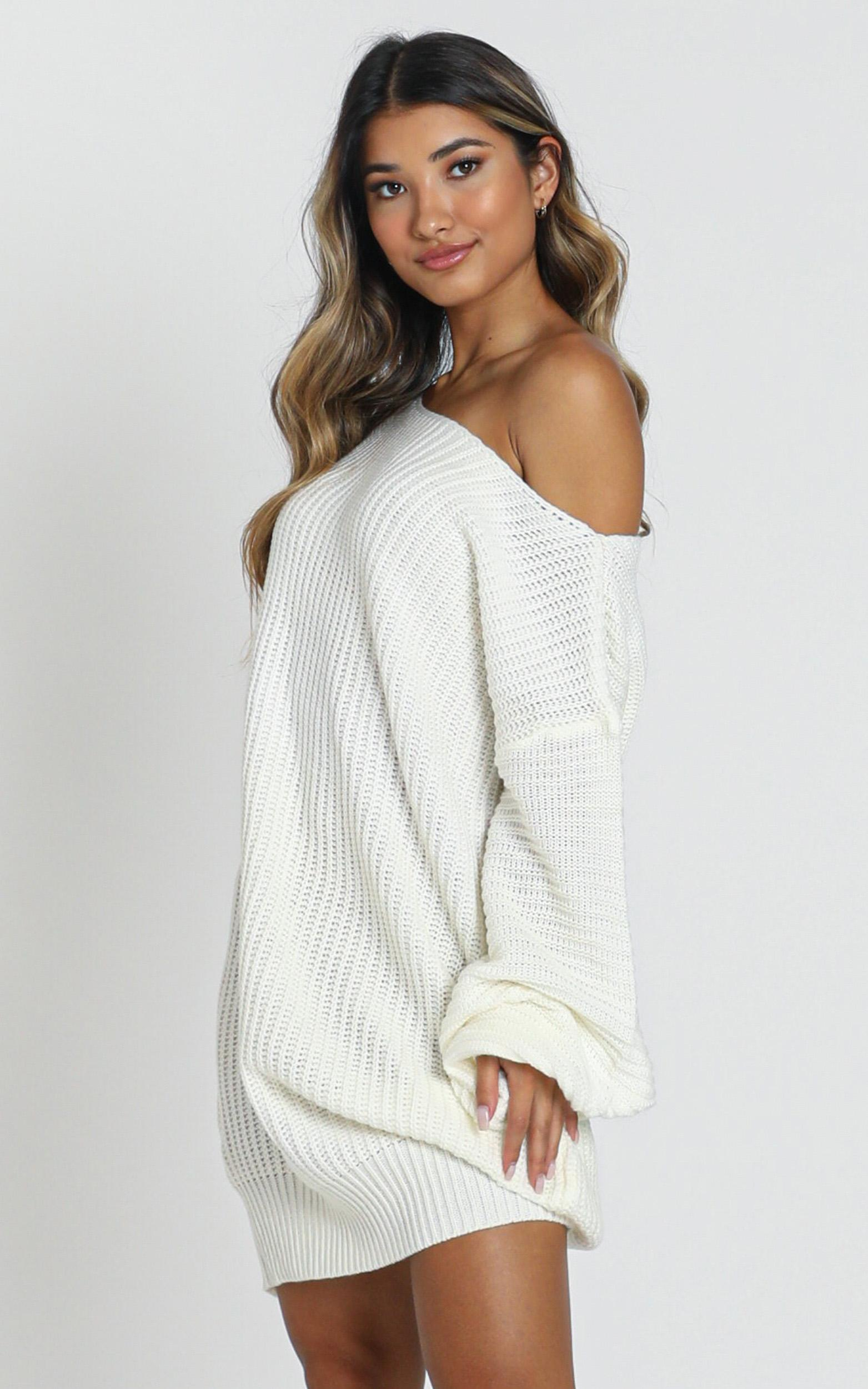 Standing In My Way Knit Dress in cream - 18 (XXXL), Cream, hi-res image number null